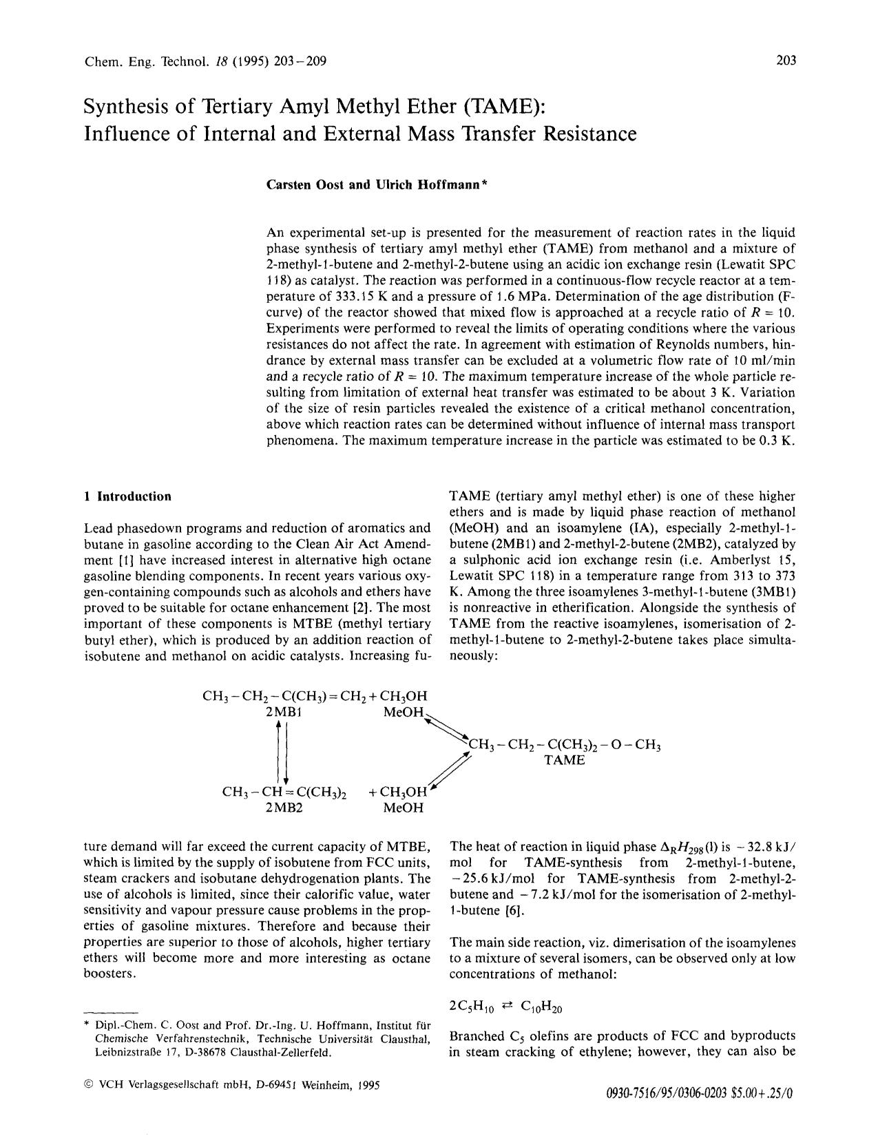 Book cover Synthesis of tertiary amyl methyl ether (TAME): Influence of internal and external mass transfer resistance