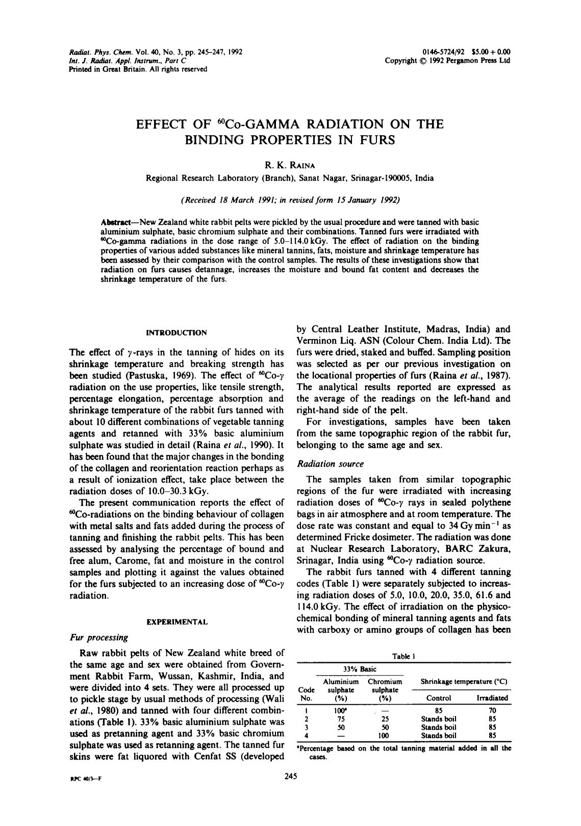 Book cover Effect of 60Co-gamma radiation on the binding properties in furs