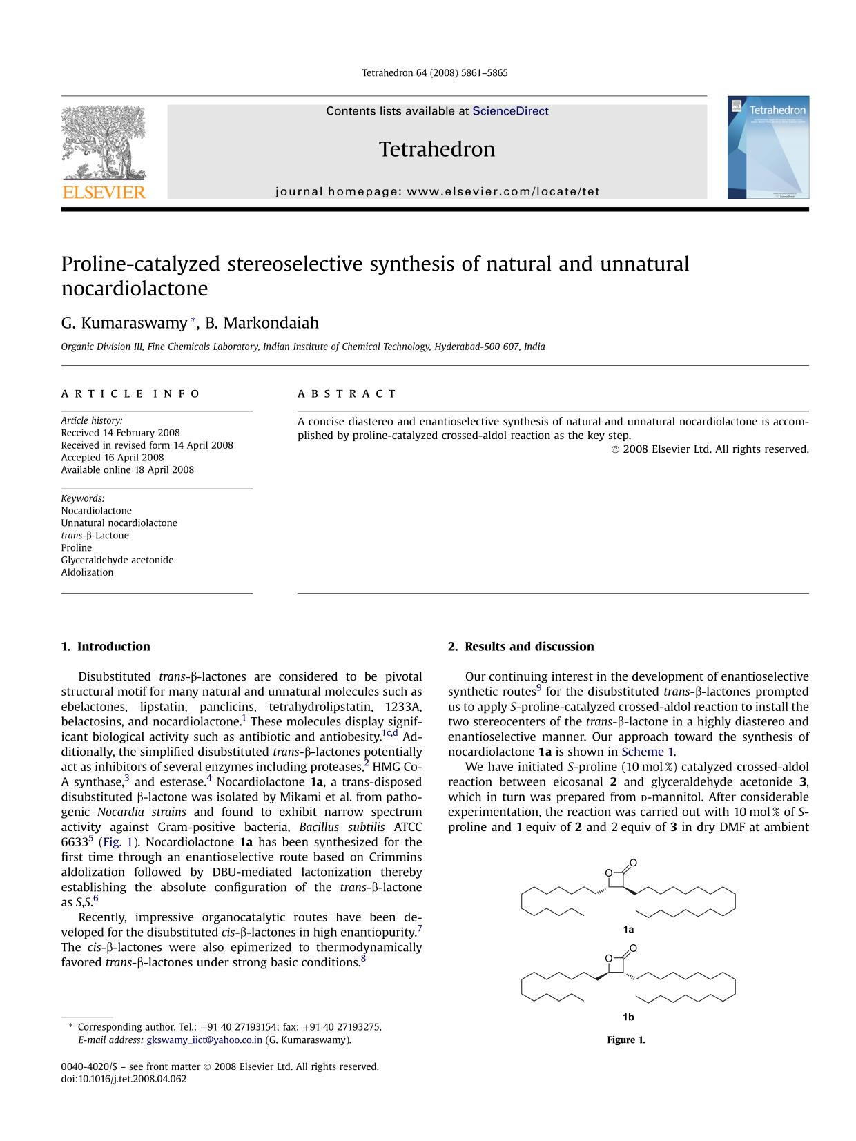 Book cover Proline-catalyzed stereoselective synthesis of natural and unnatural nocardiolactone