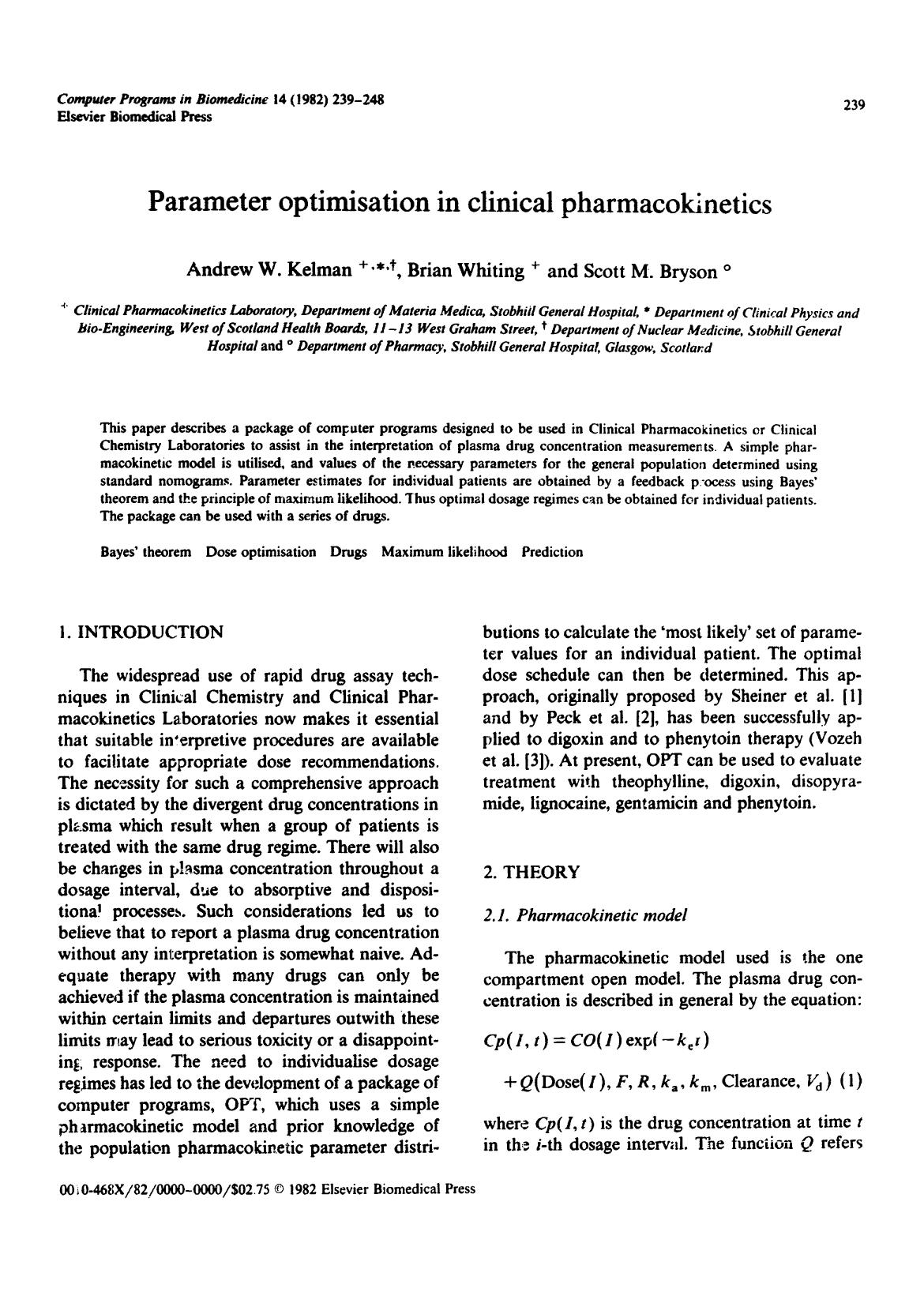 Book cover Parameter optimisation in clinical pharmacokinetics