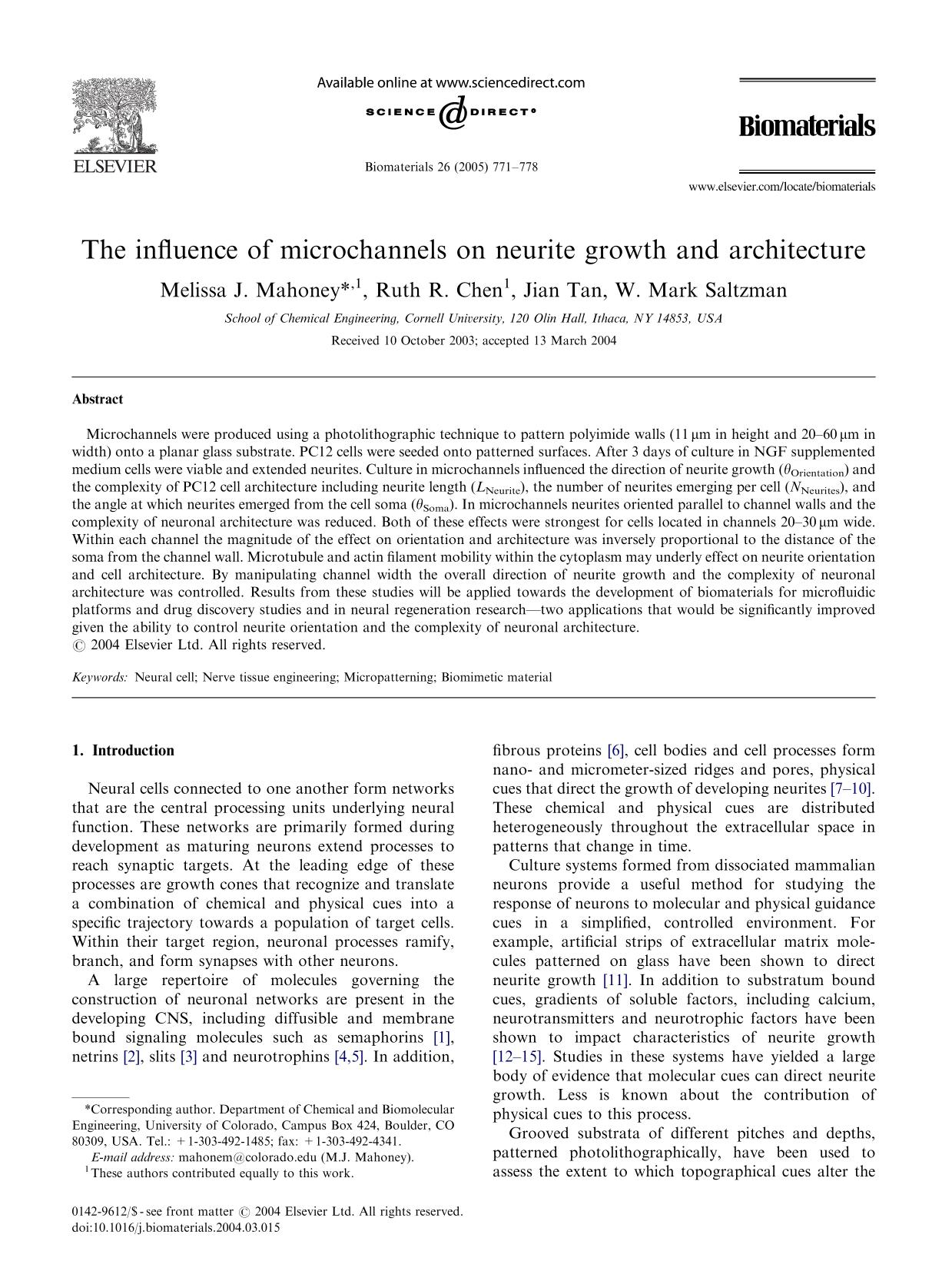 Book cover The influence of microchannels on neurite growth and architecture