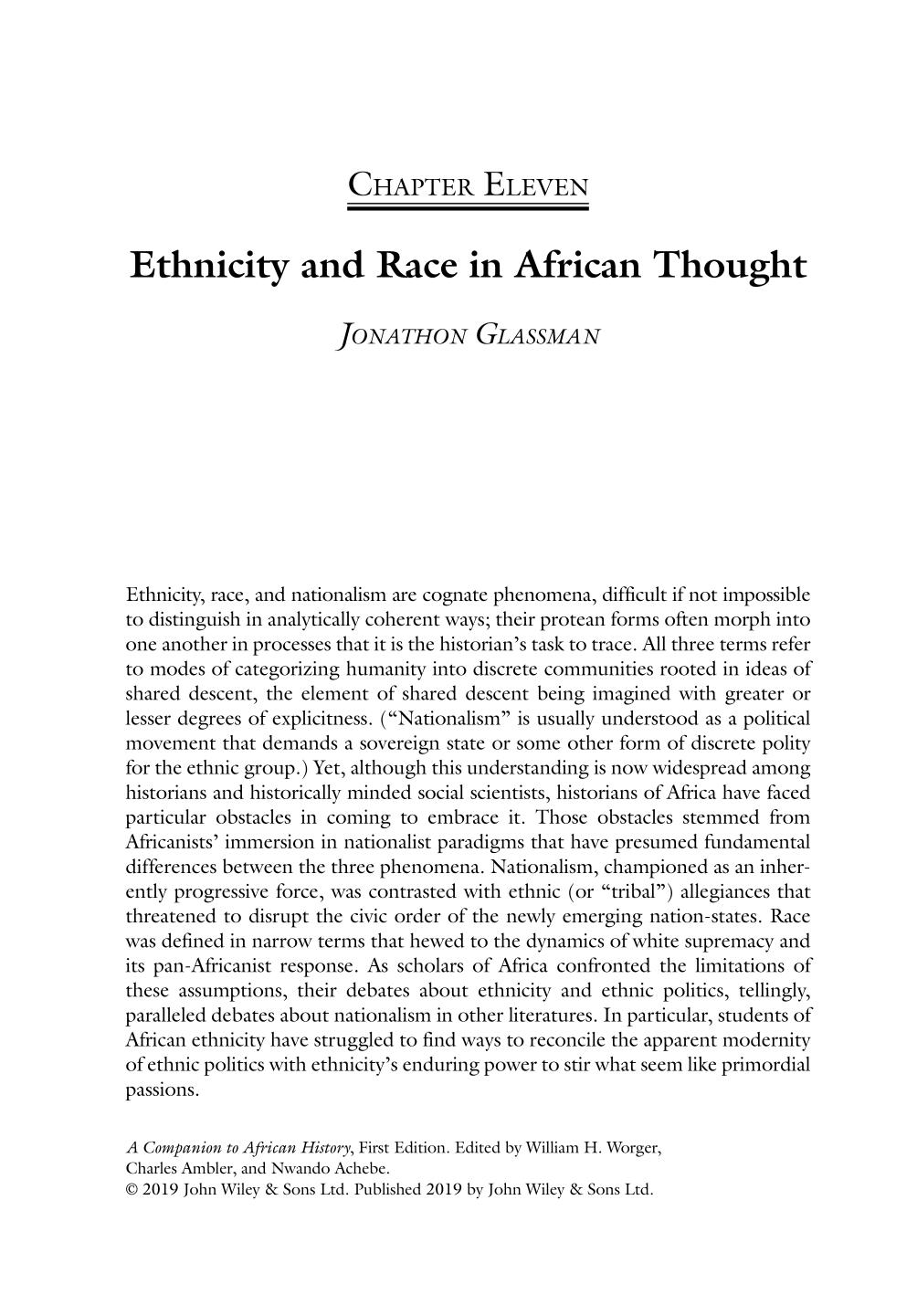 Book cover A Companion to African History || Ethnicity and Race in African Thought