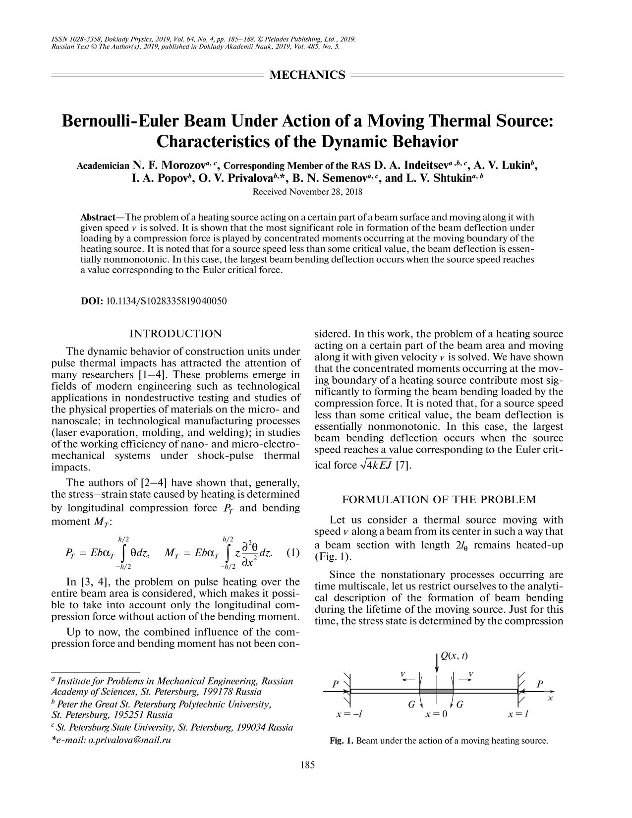 Book cover Bernoulli-Euler Beam Under Action of a Moving Thermal Source: Characteristics of the Dynamic Behavior
