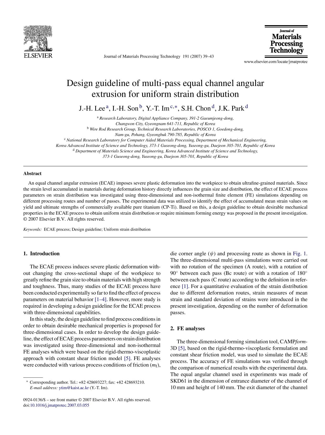 Book cover Design guideline of multi-pass equal channel angular extrusion for uniform strain distribution