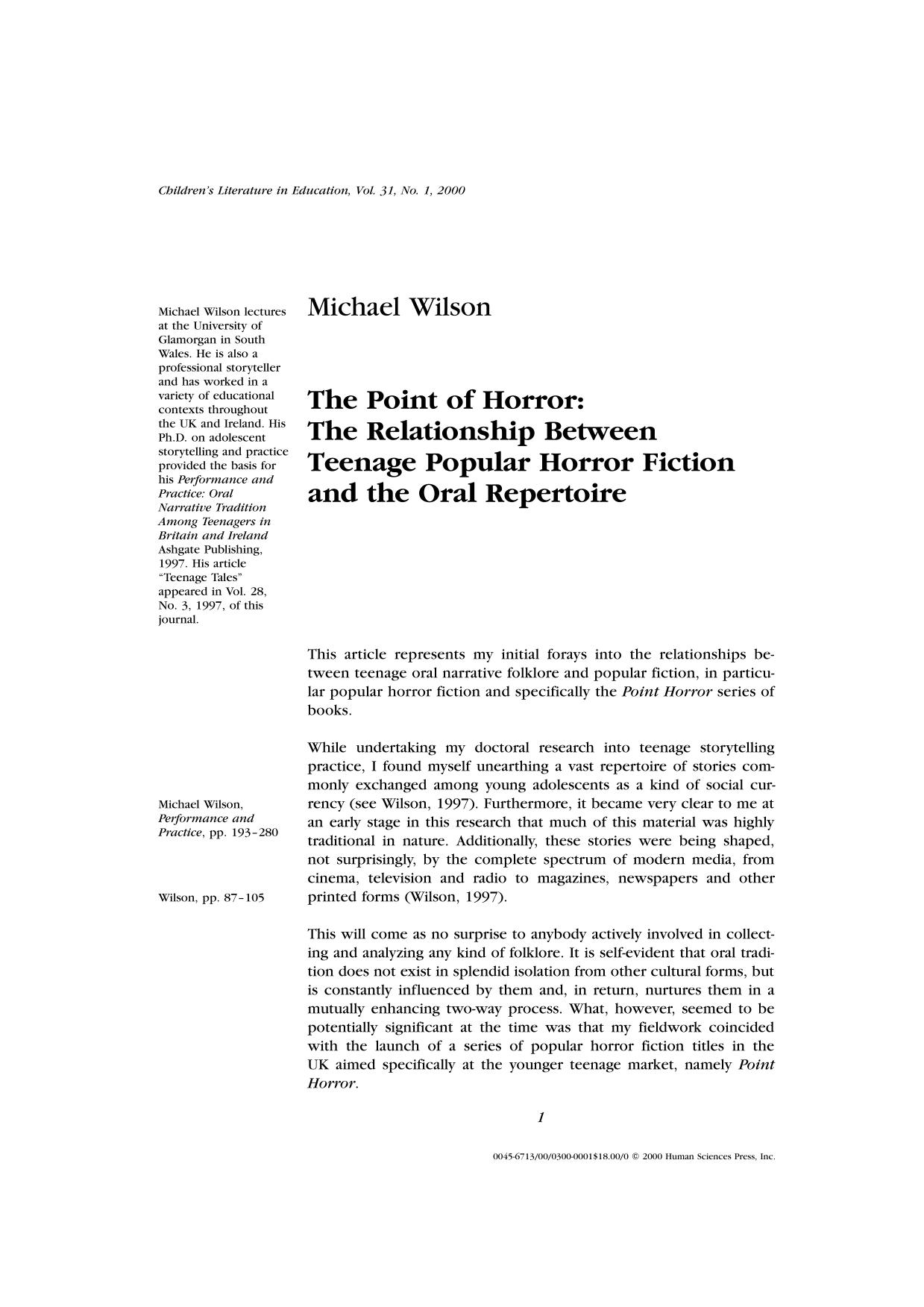 Book cover The Point of Horror: The Relationship Between Teenage Popular Horror Fiction and the Oral Repertoire