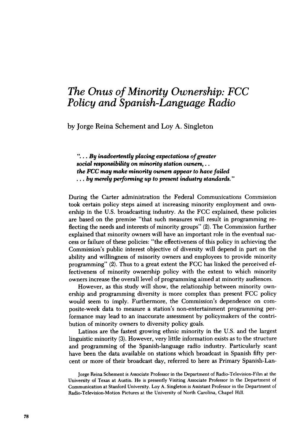 Book cover The Onus of Minority Ownership: FCC Polic y and Spanish-Language Radio