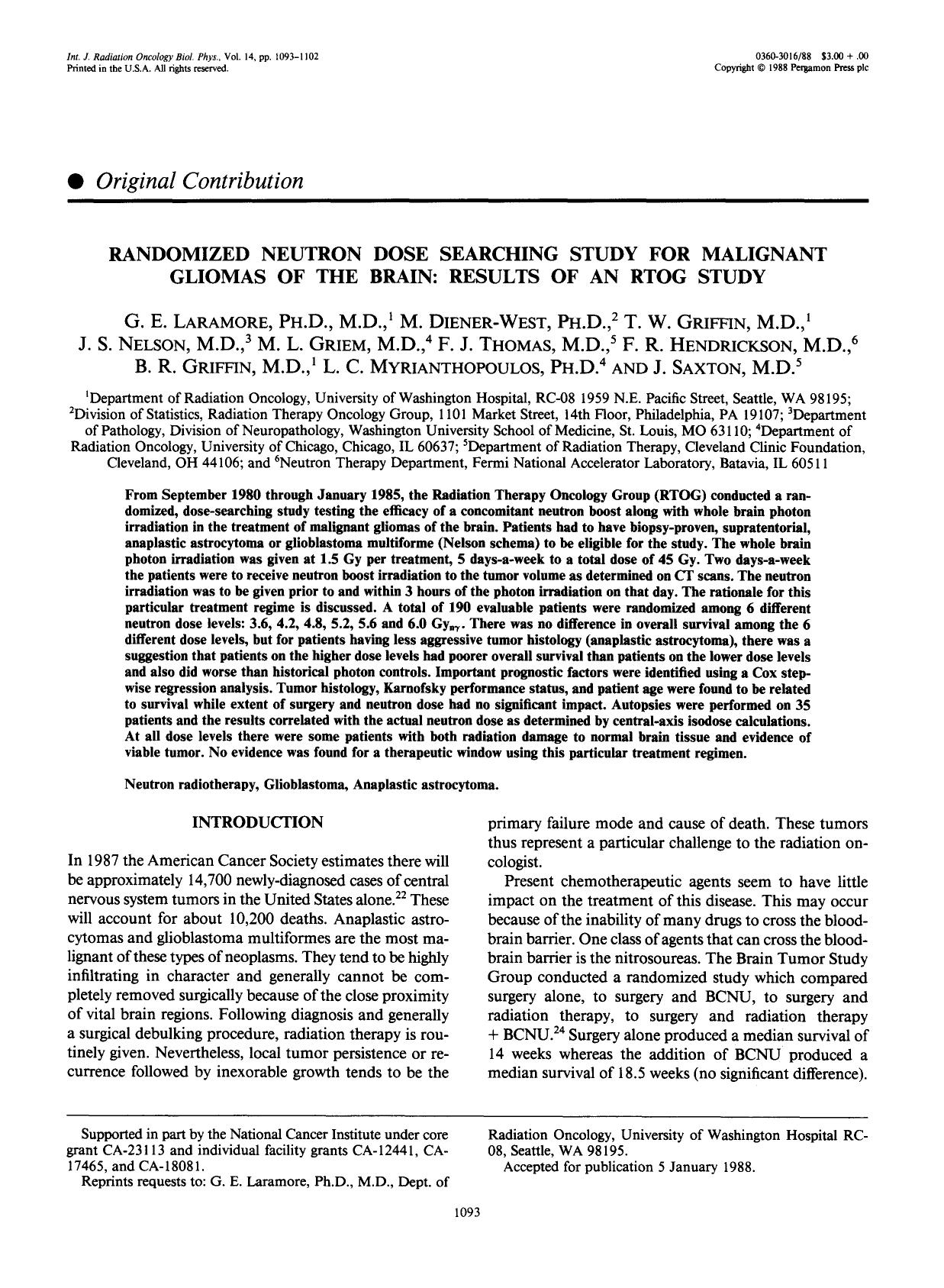 Book cover Randomized neutron dose searching study for malignant gliomas of the brain: Results of an RTOG study