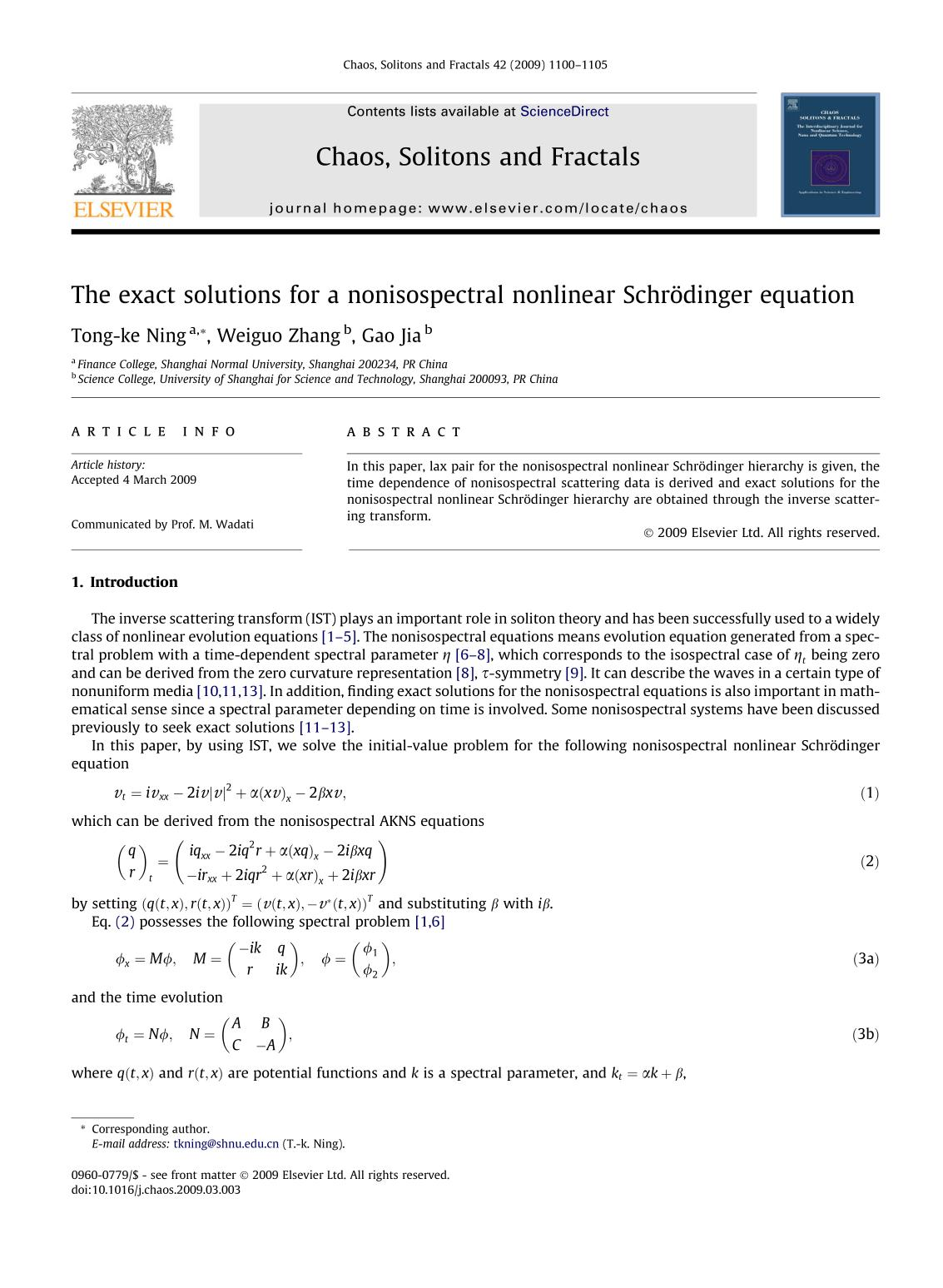 Book cover The exact solutions for a nonisospectral nonlinear Schrödinger equation