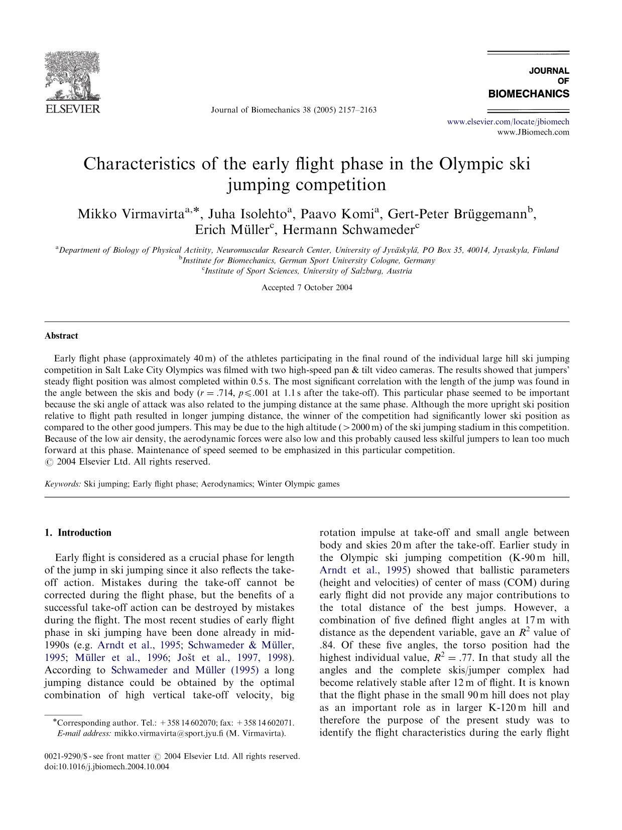 Book cover Characteristics of the early flight phase in the Olympic ski jumping competition