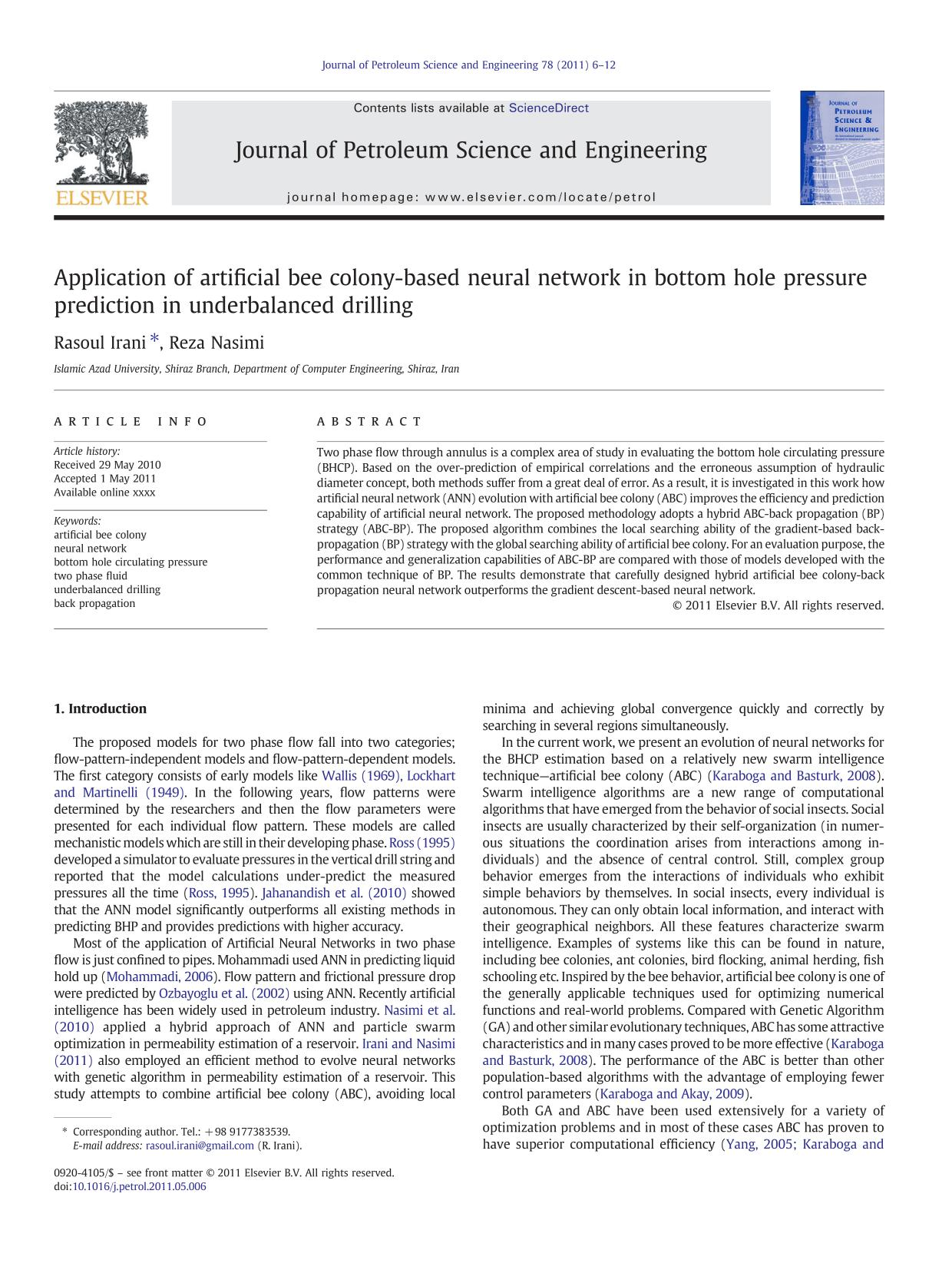 Book cover Application of artificial bee colony-based neural network in bottom hole pressure prediction in underbalanced drilling