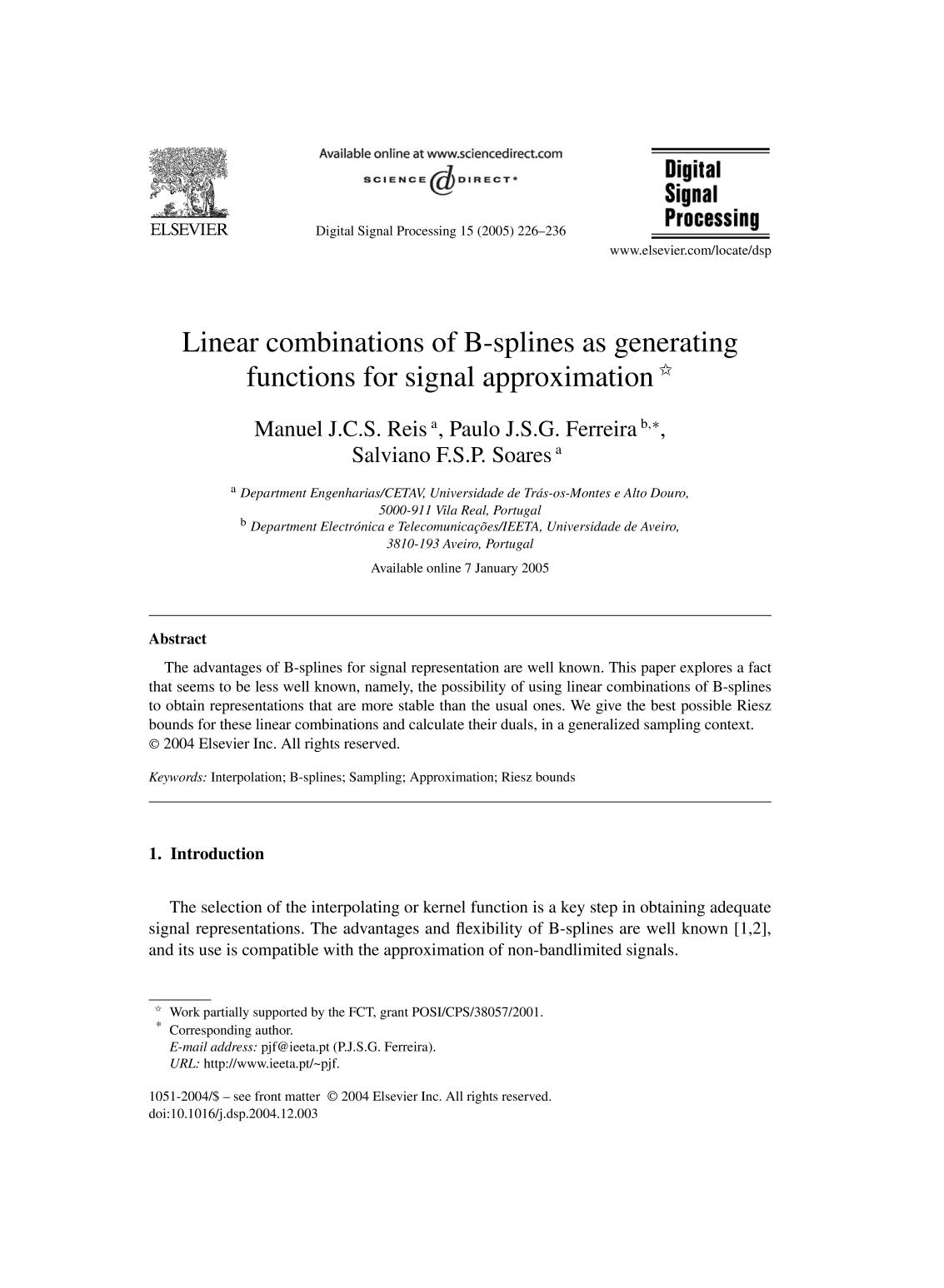 Book cover Linear combinations of B-splines as generating functions for signal approximation