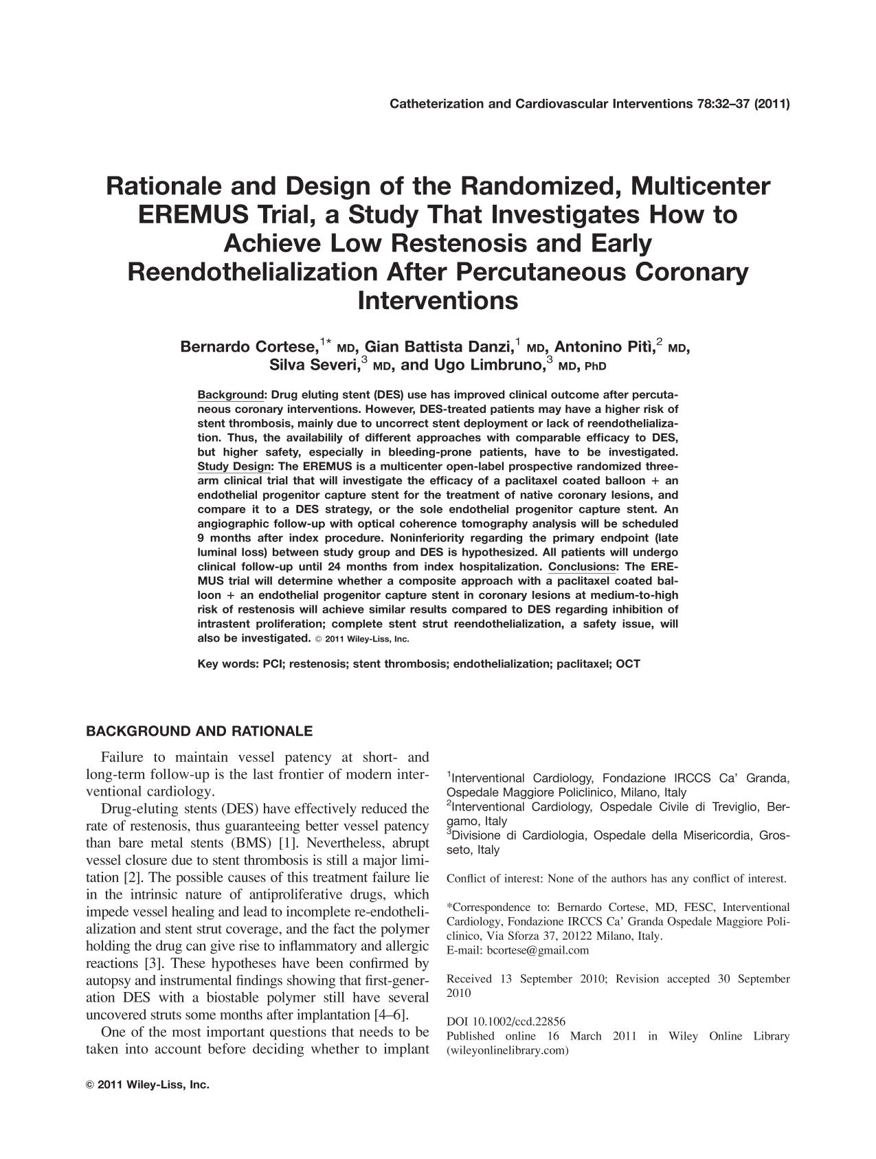 Обложка книги Rationale and design of the randomized, multicenter EREMUS trial, a study that investigates how to achieve low restenosis and early reendothelialization after percutaneous coronary interventions