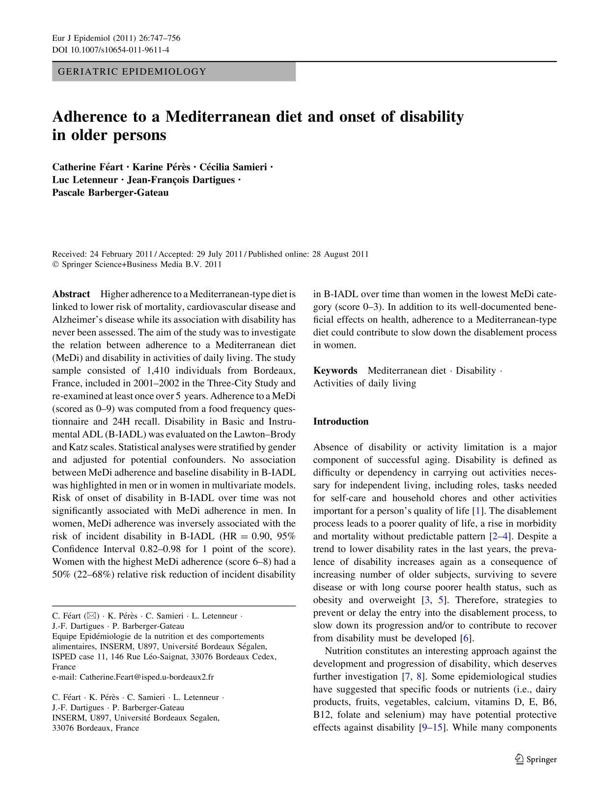 Book cover Adherence to a Mediterranean diet and onset of disability in older persons