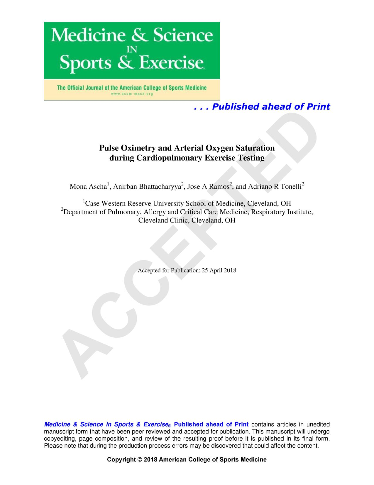 Book cover Pulse Oximetry and Arterial Oxygen Saturation during Cardiopulmonary Exercise Testing