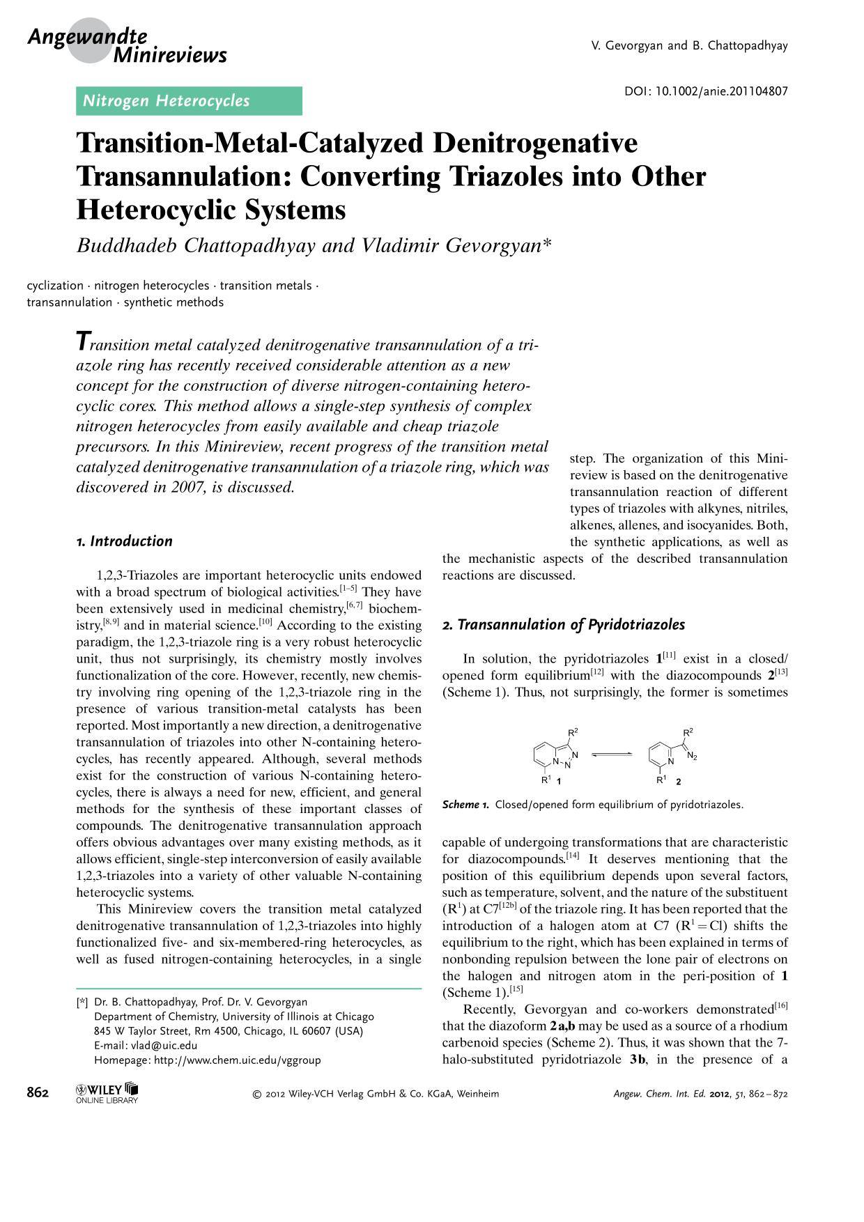 Book cover Transition-Metal-Catalyzed Denitrogenative Transannulation: Converting Triazoles into Other Heterocyclic Systems