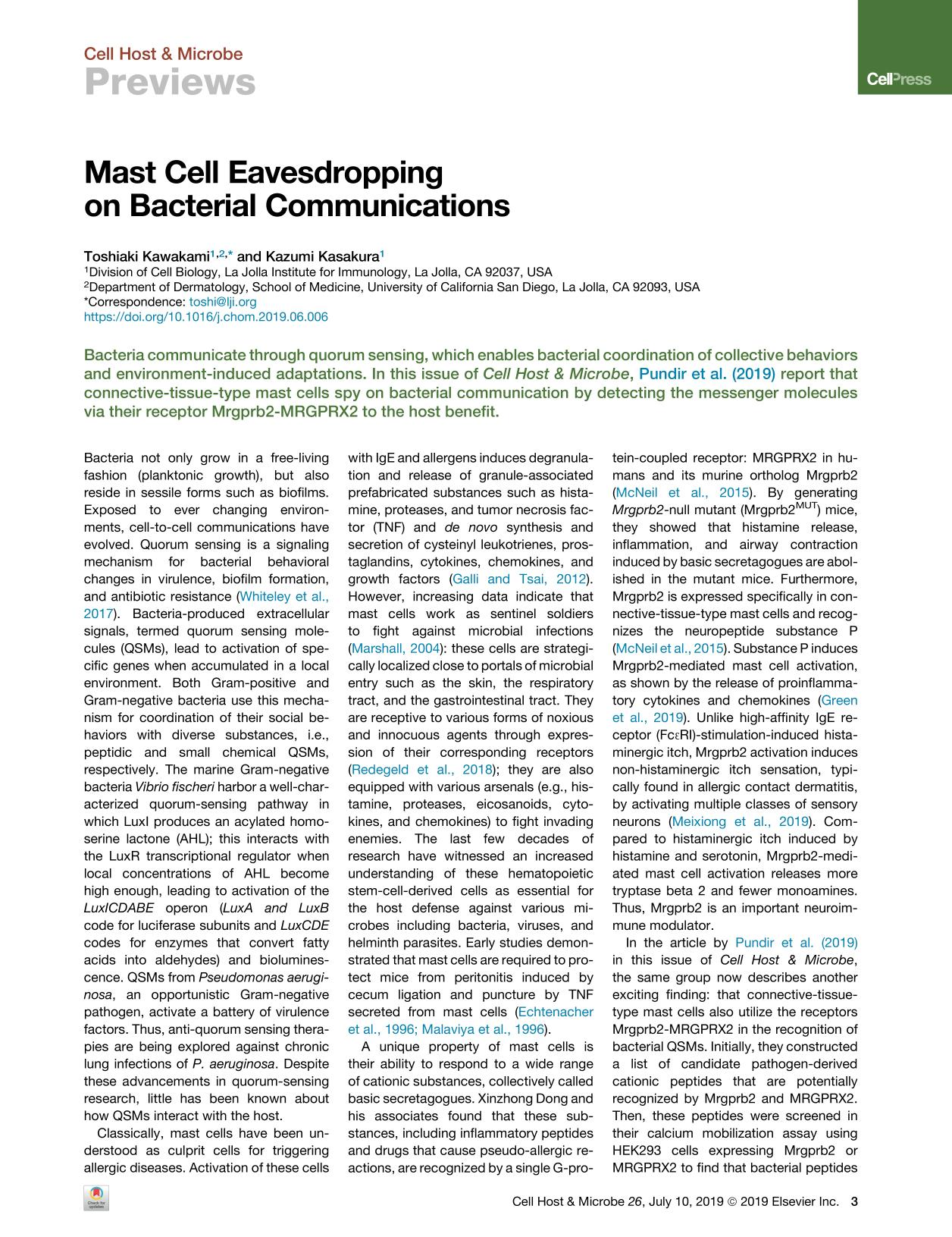 Book cover Mast Cell Eavesdropping on Bacterial Communications