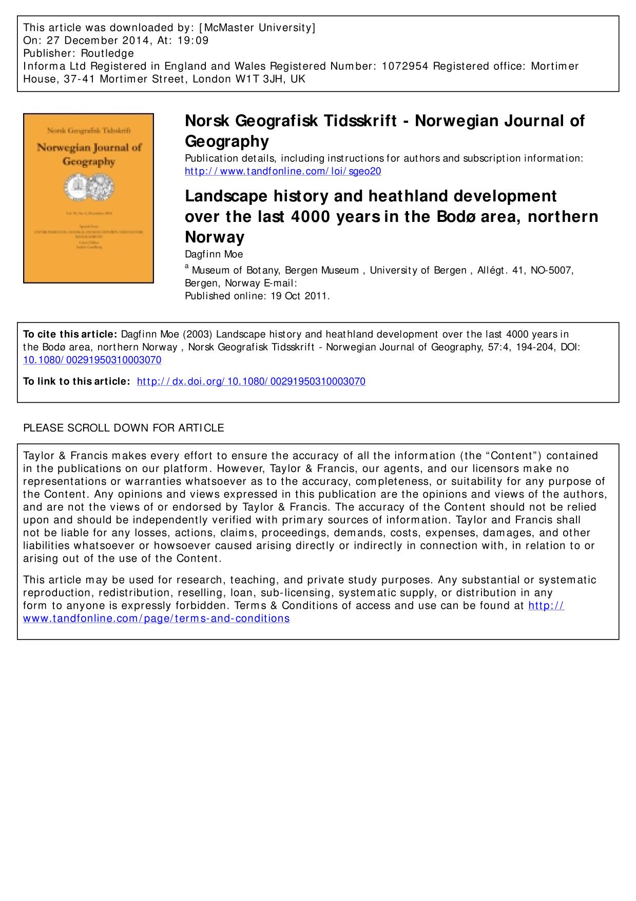 Book cover Landscape history and heathland development over the last 4000 years in the Bodø area, northern Norway