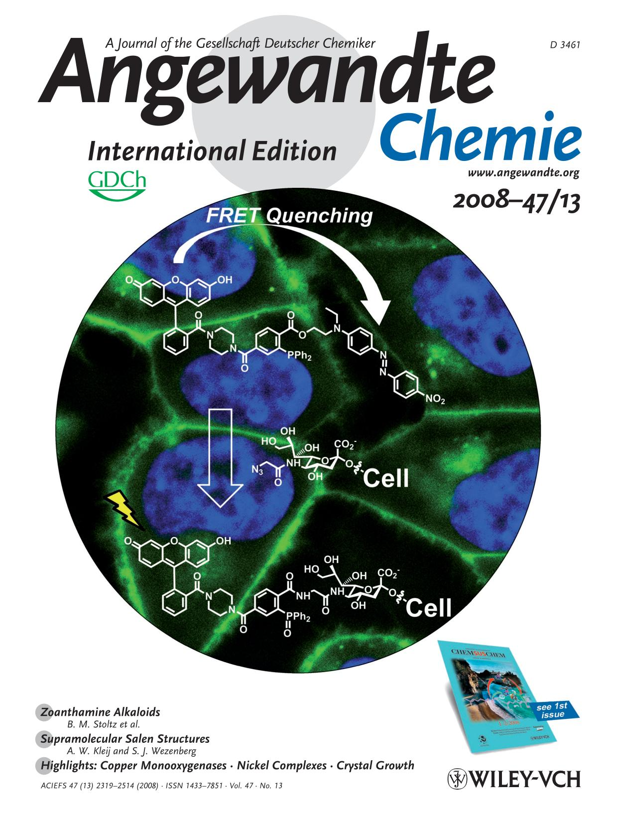 Book cover Cover Picture: A FRET-Based Fluorogenic Phosphine for Live-Cell Imaging with the Staudinger Ligation (Angew. Chem. Int. Ed. 13/2008)