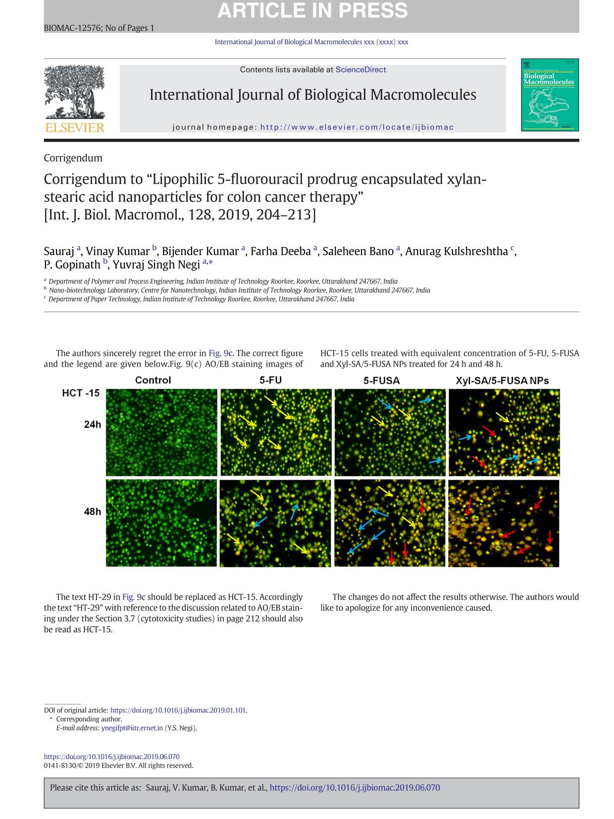 """Book cover Corrigendum to """"Lipophilic 5-fluorouracil prodrug encapsulated xylan-stearic acid nanoparticles for colon cancer therapy"""" [Int. J. Biol. Macromol., 128, 2019, 204–213]"""