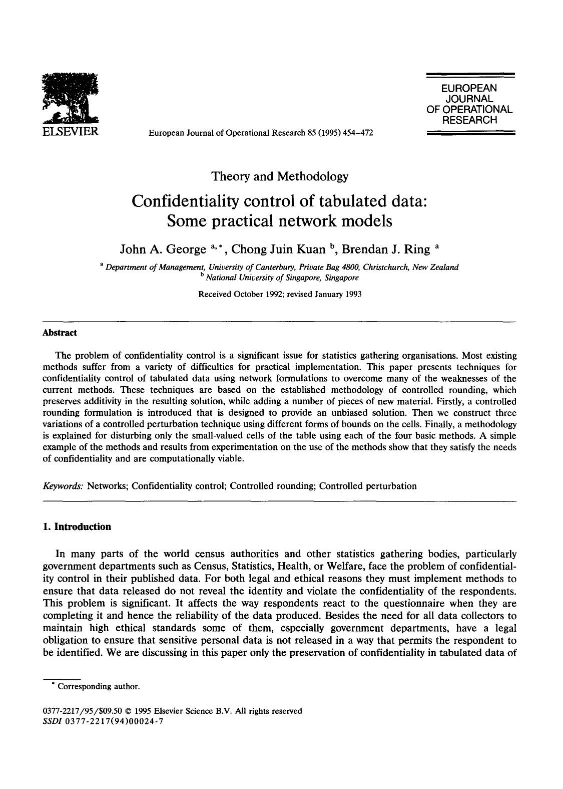Book cover Confidentiality control of tabulated data: Some practical network models