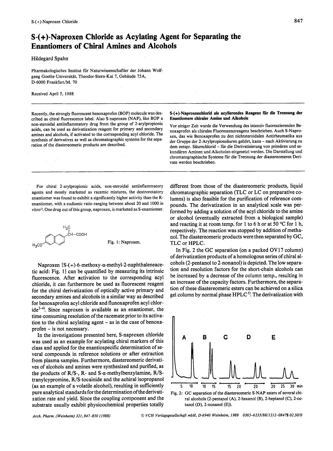 書籍の表紙 S-(+)-naproxen chloride as acylating agent for separating the enantiomers of chiral amines and alcohols