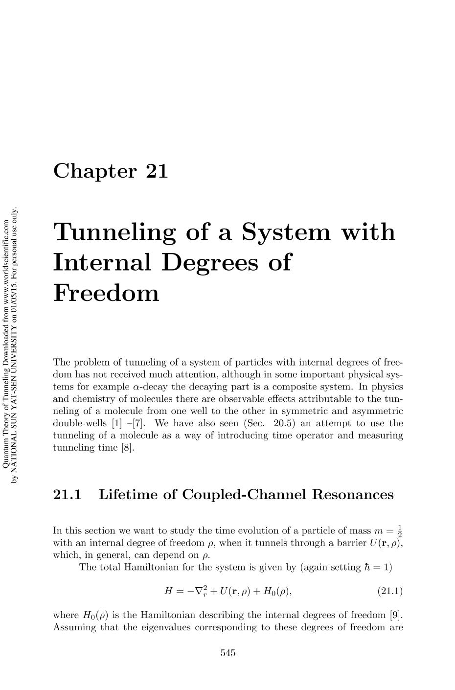 Book cover Quantum Theory of Tunneling || Chapter 21: Tunneling of a System with Internal Degrees of Freedom