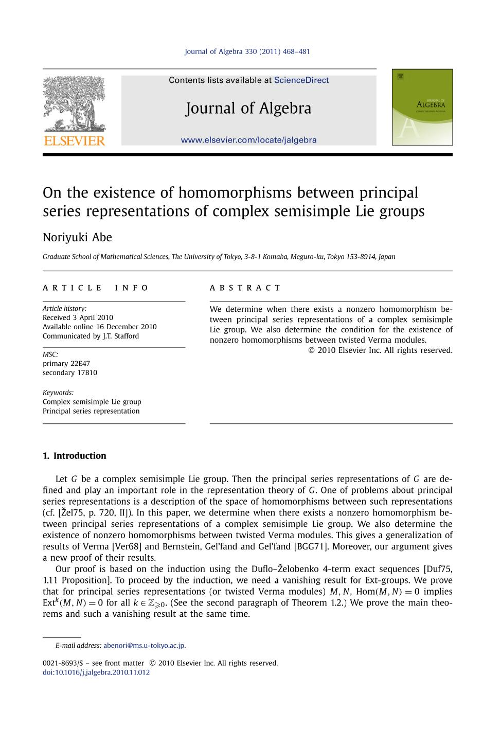Book cover On the existence of homomorphisms between principal series representations of complex semisimple Lie groups