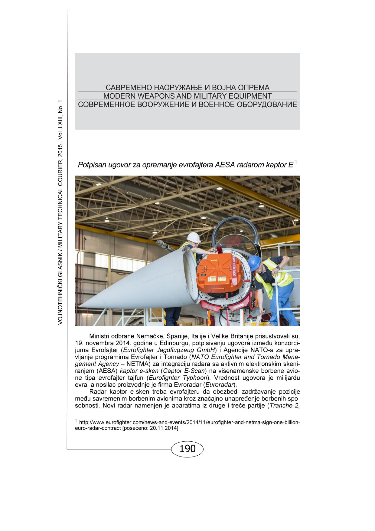 Book cover Modern weapons and military equipment for issue no. 1-2015