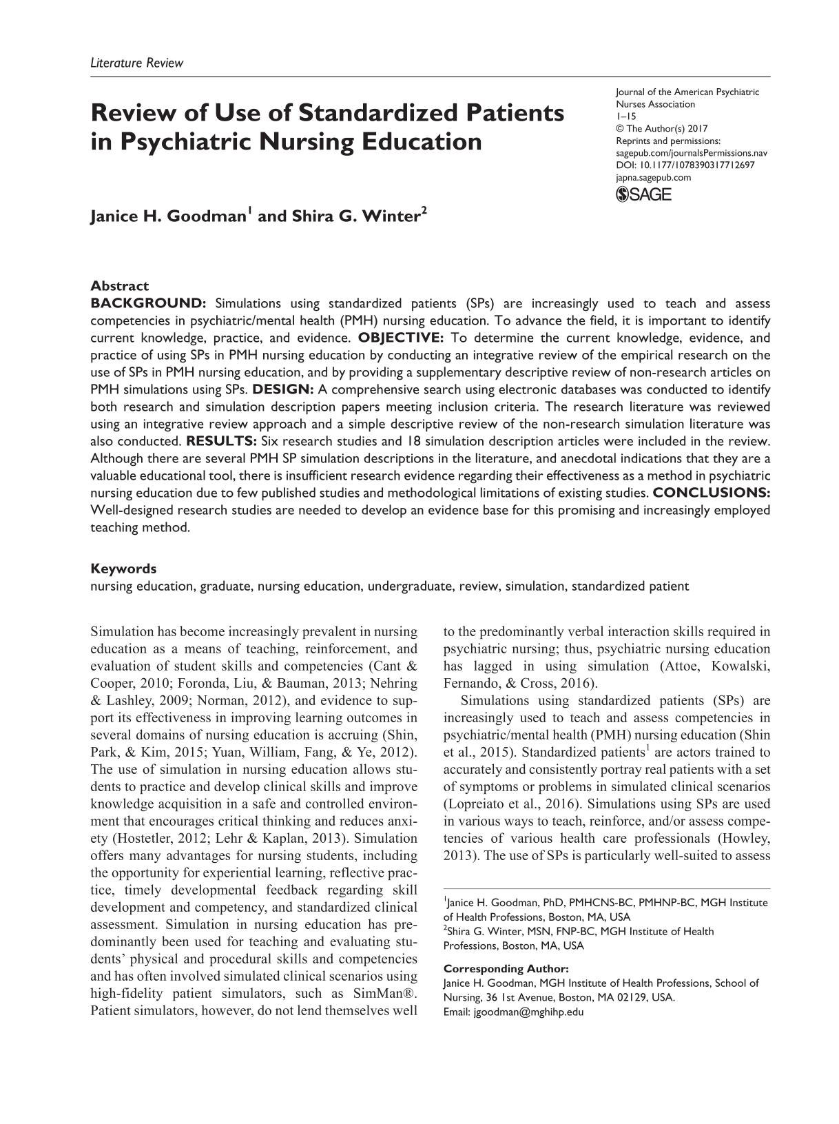 Book cover Review of Use of Standardized Patients in Psychiatric Nursing Education