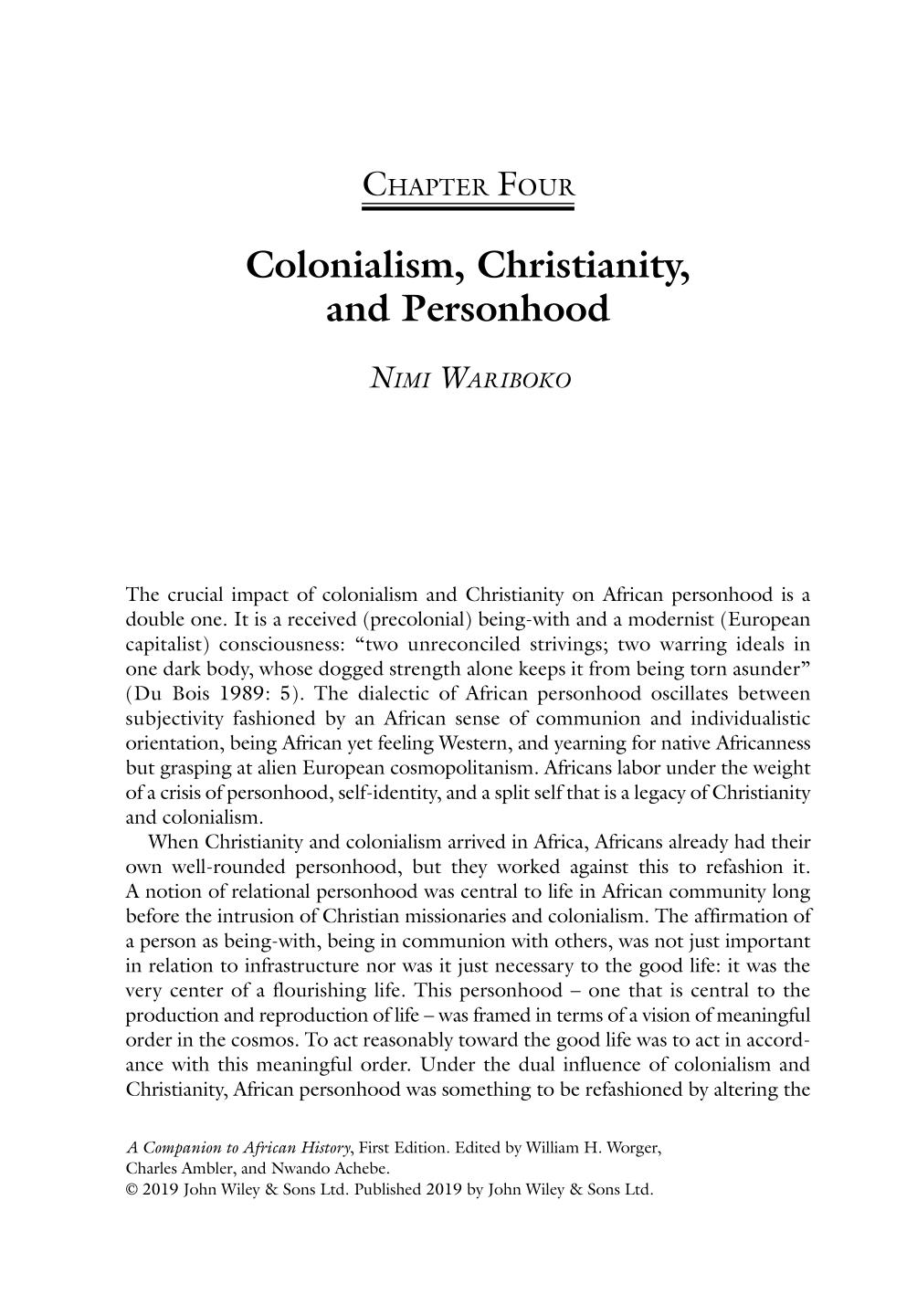 Book cover A Companion to African History    Colonialism, Christianity, and Personhood