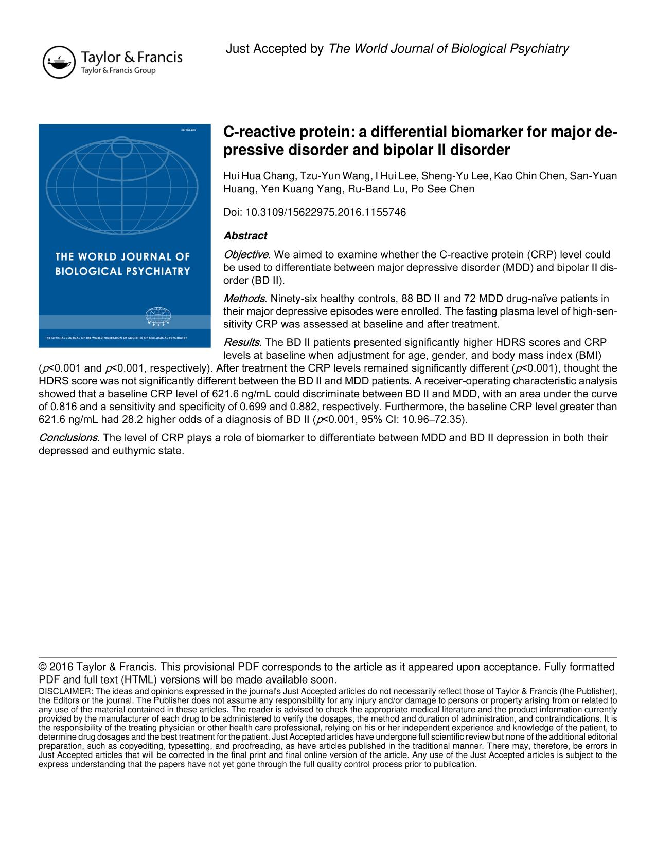 Book cover C-reactive protein: a differential biomarker for major depressive disorder and bipolar II disorder