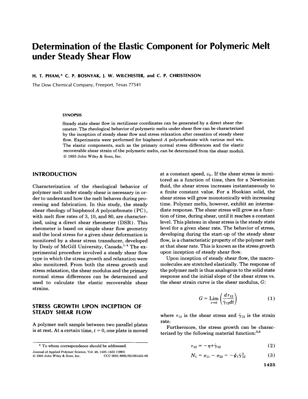 Обложка книги Determination of the elastic component for polymeric melt under steady shear flow