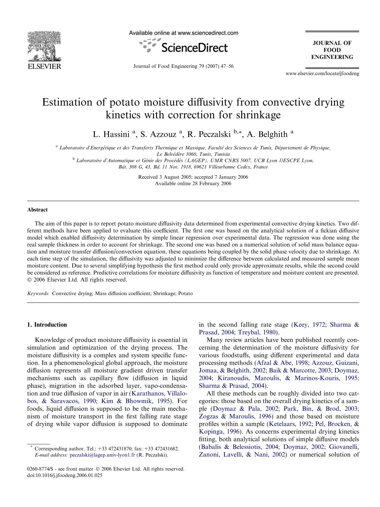 Book cover Estimation of potato moisture diffusivity from convective drying kinetics with correction for shrinkage