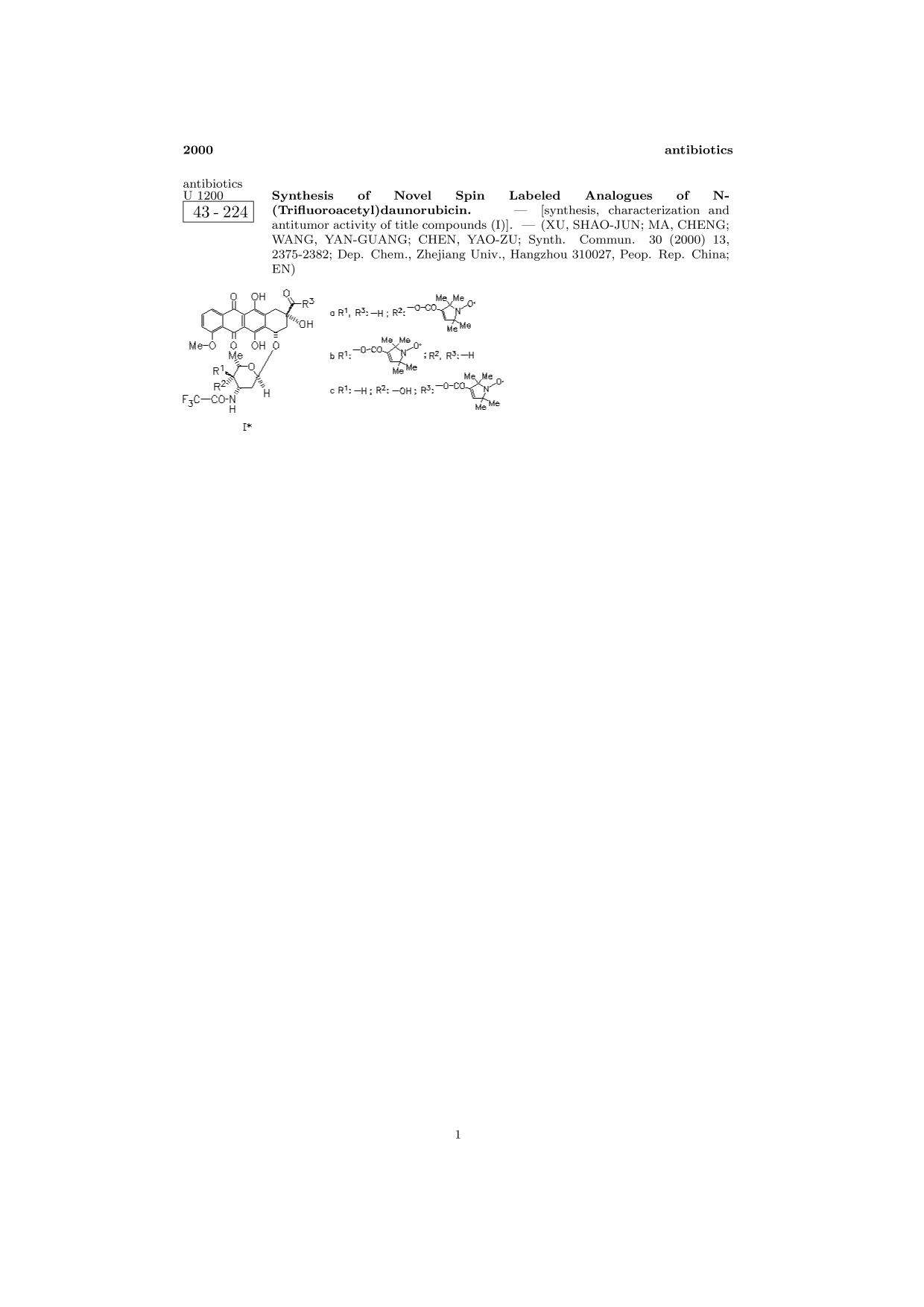 Book cover ChemInform Abstract: Synthesis of Novel Spin Labeled Analogues of N-(Trifluoroacetyl)daunorubicin.<span></span>