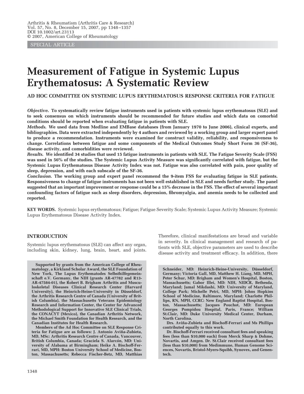 Book cover Measurement of fatigue in systemic lupus erythematosus: A systematic review