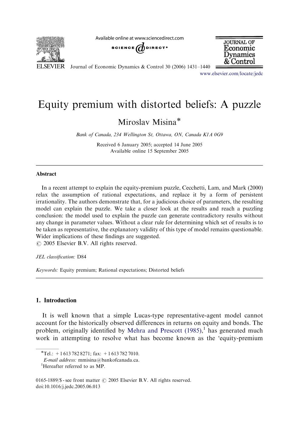 Book cover Equity premium with distorted beliefs: A puzzle