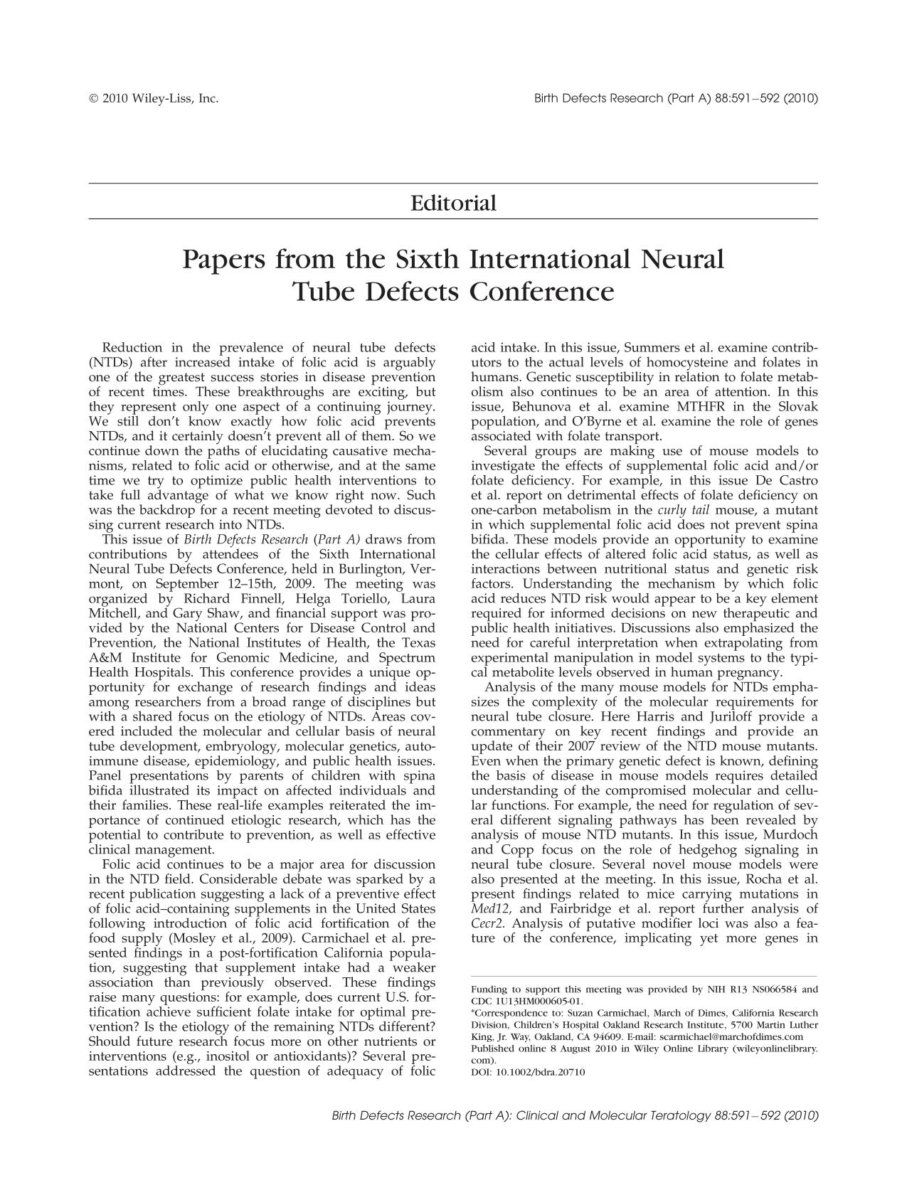 Book cover Papers from the Sixth International Neural Tube Defects Conference
