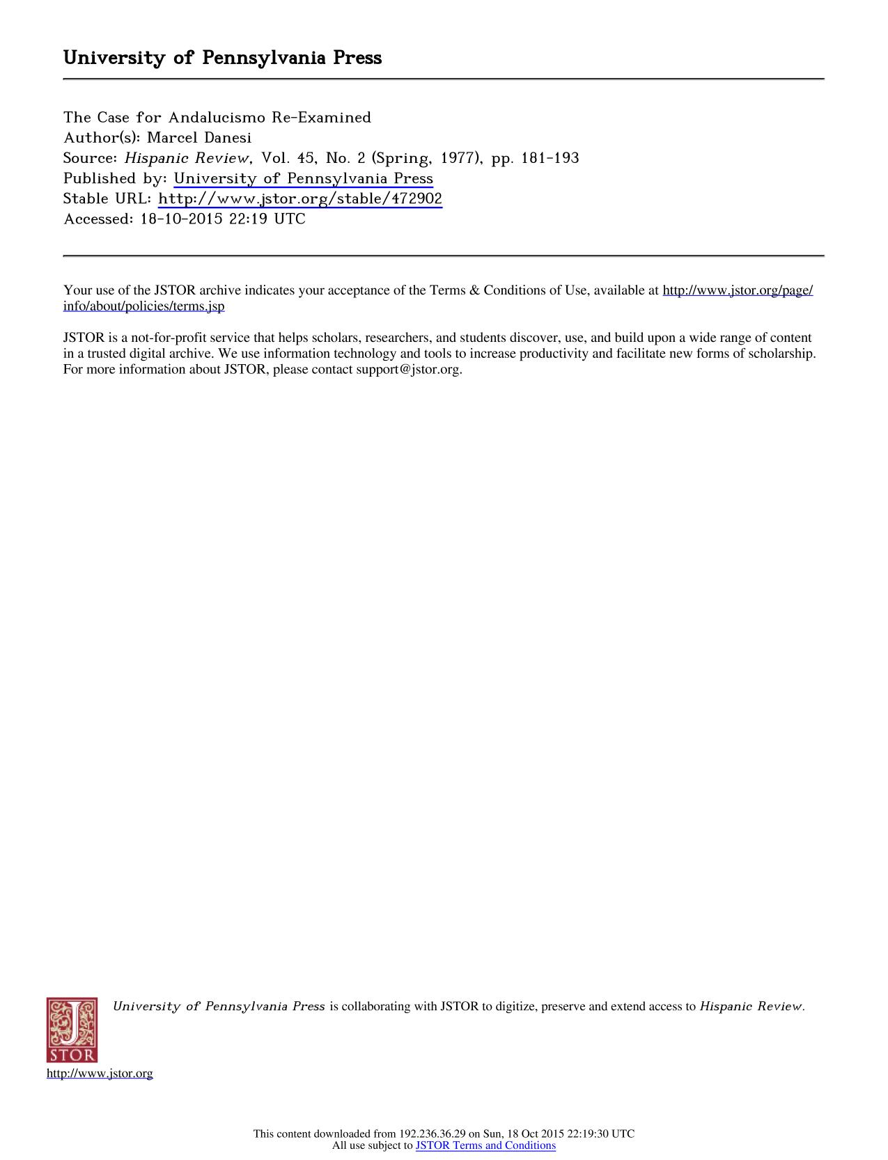 Book cover The Case for Andalucismo Re-Examined