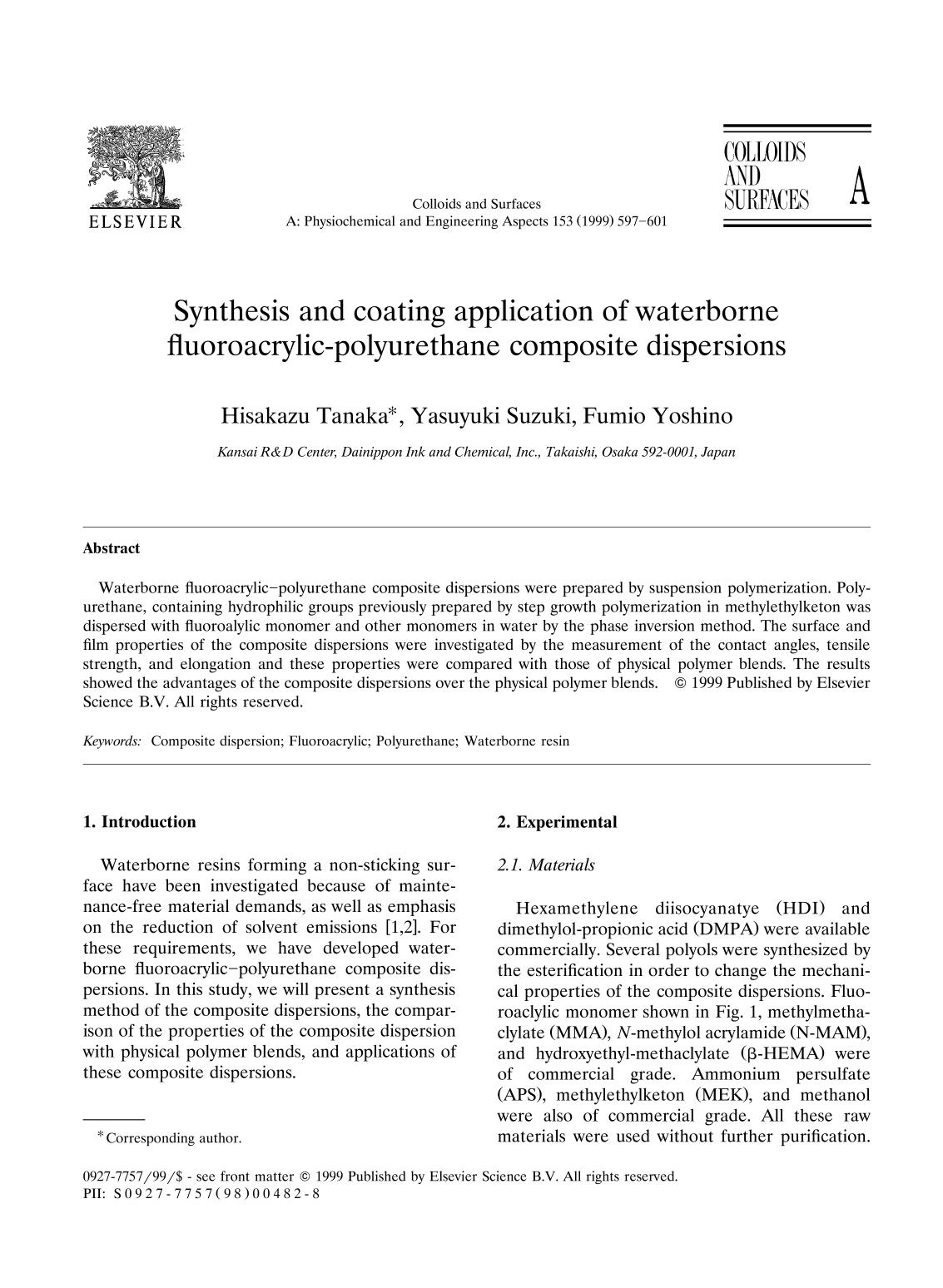 Обкладинка книги Synthesis and coating application of waterborne fluoroacrylic-polyurethane composite dispersions