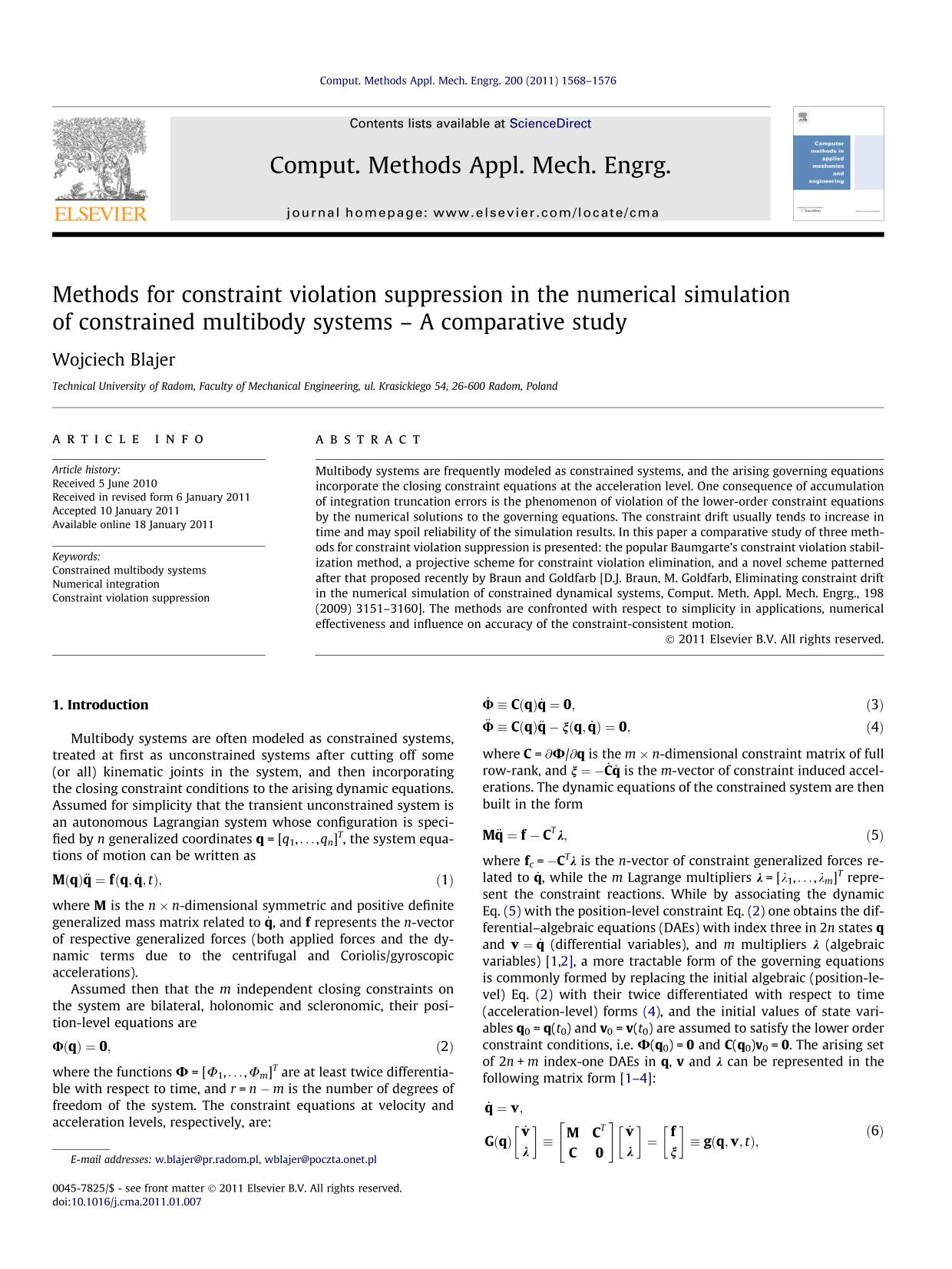 Book cover Methods for constraint violation suppression in the numerical simulation of constrained multibody systems – A comparative study