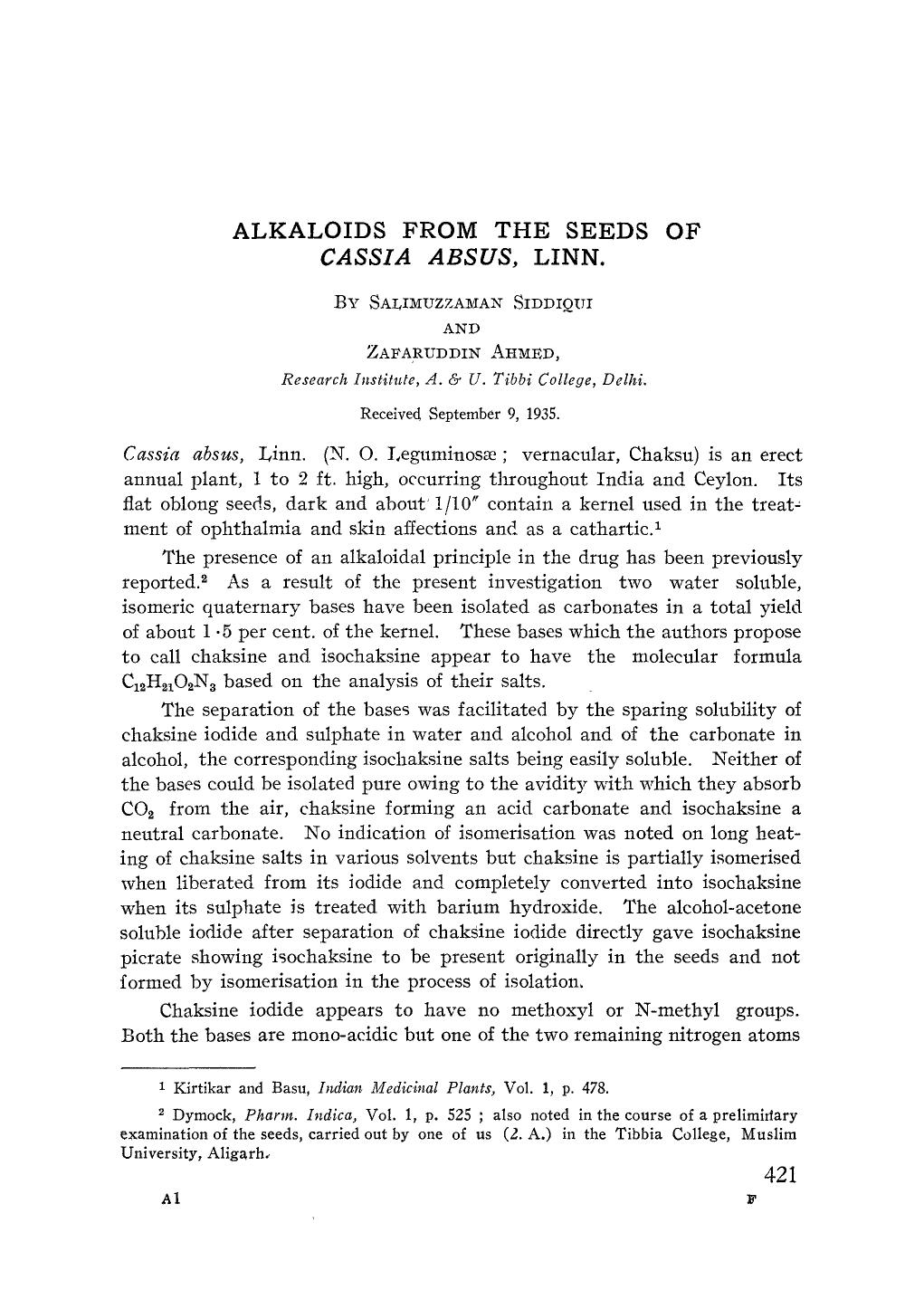 Book cover Alkaloids from the seeds ofCassia absus, Linn
