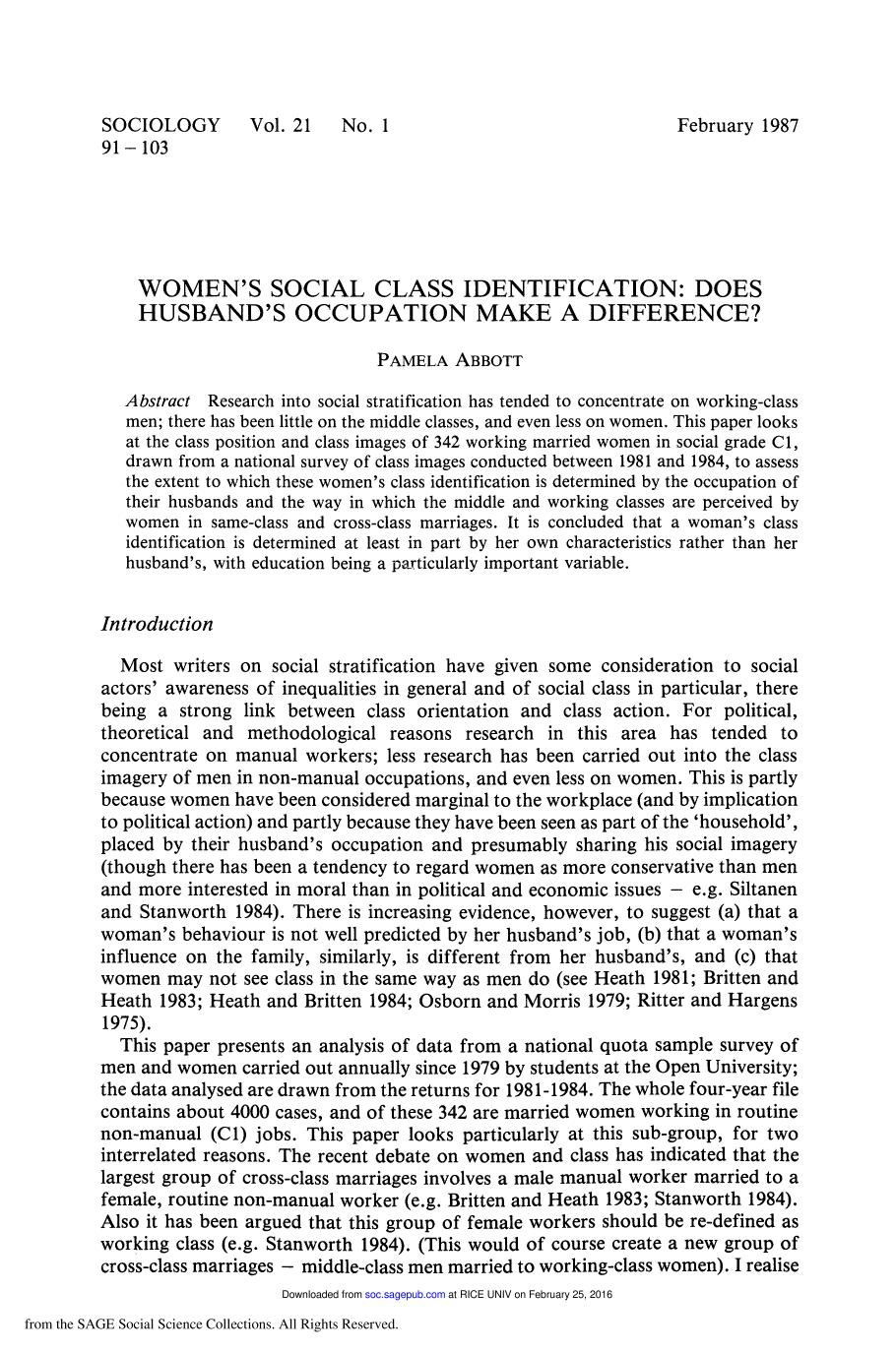 Book cover Women's Social Class Identification: Does Husband's Occupation Make a Difference?