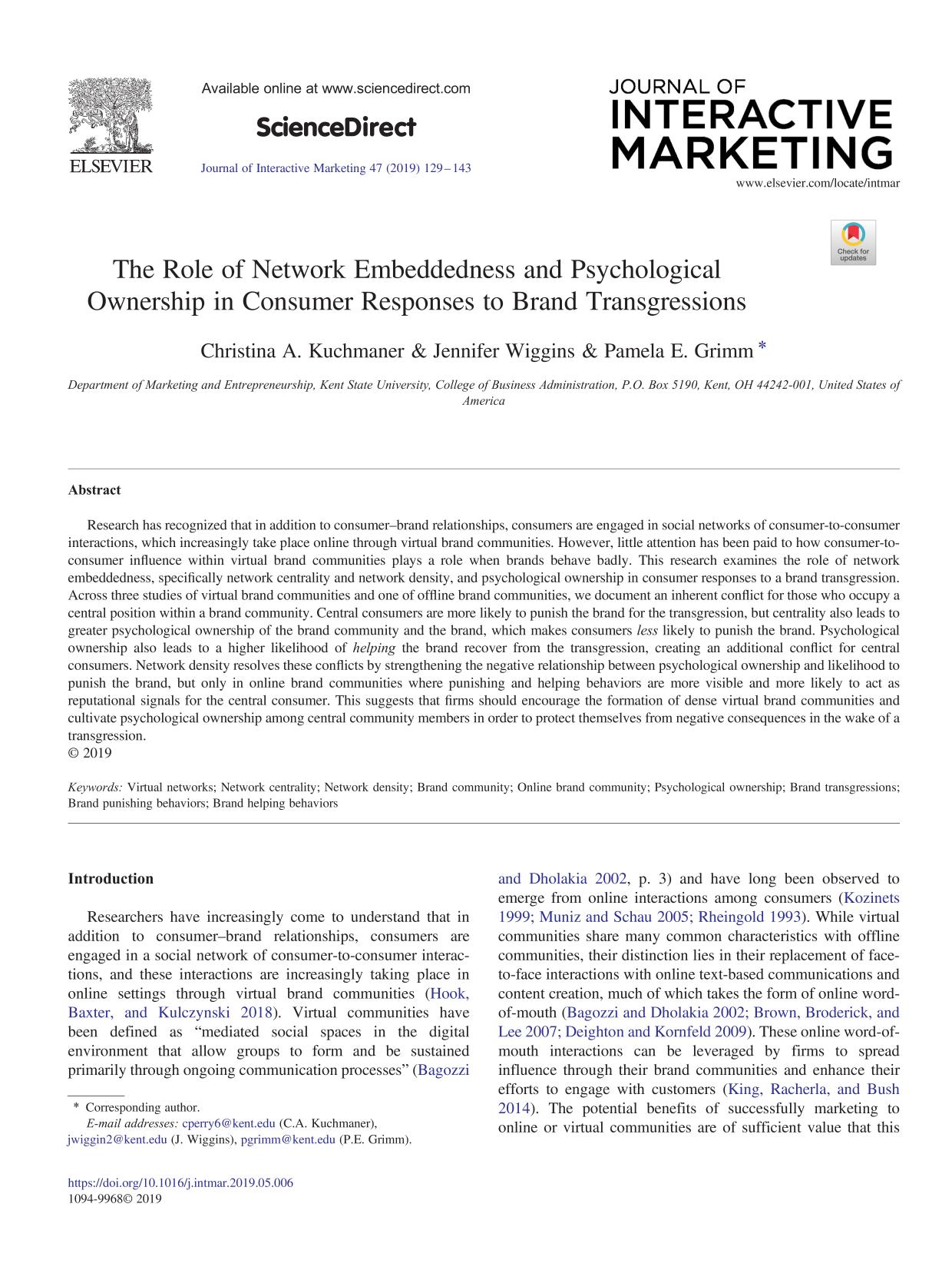 Book cover The Role of Network Embeddedness and Psychological Ownership in Consumer Responses to Brand Transgressions