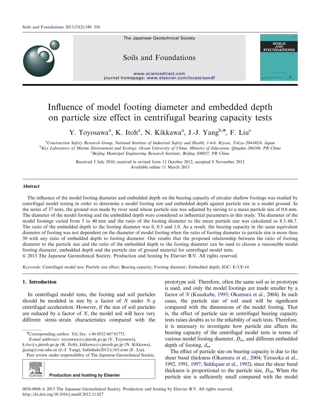 Book cover Influence of model footing diameter and embedded depth on particle size effect in centrifugal bearing capacity tests
