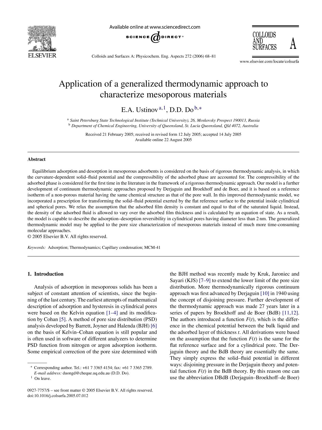 Book cover Application of a generalized thermodynamic approach to characterize mesoporous materials