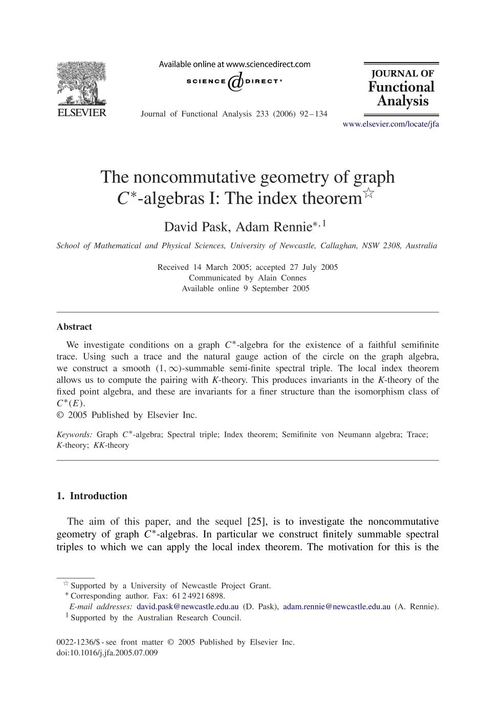 Book cover The noncommutative geometry of graph -algebras I: The index theorem