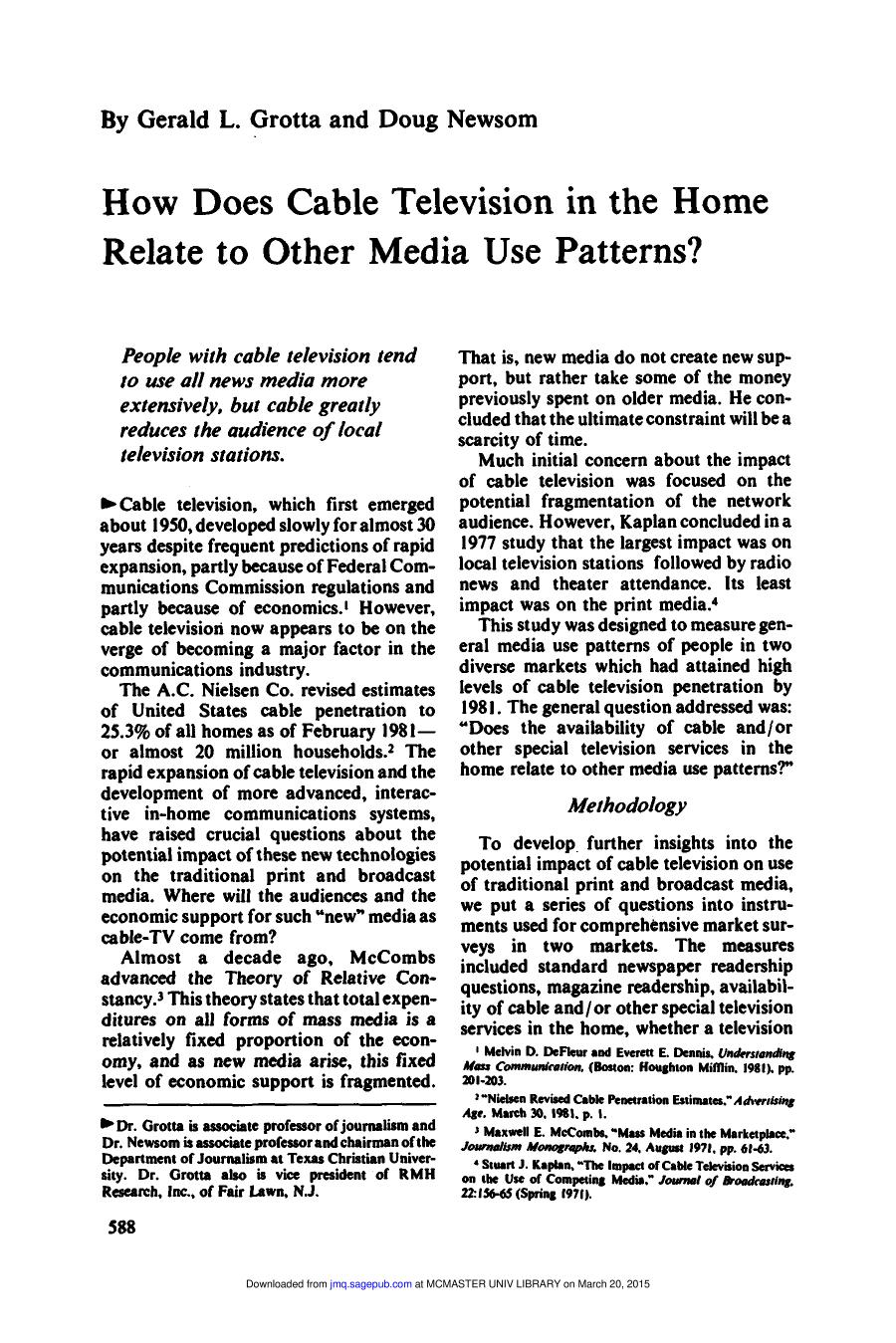 Book cover How Does Cable Television in the Home Relate to other Media Use Patterns?