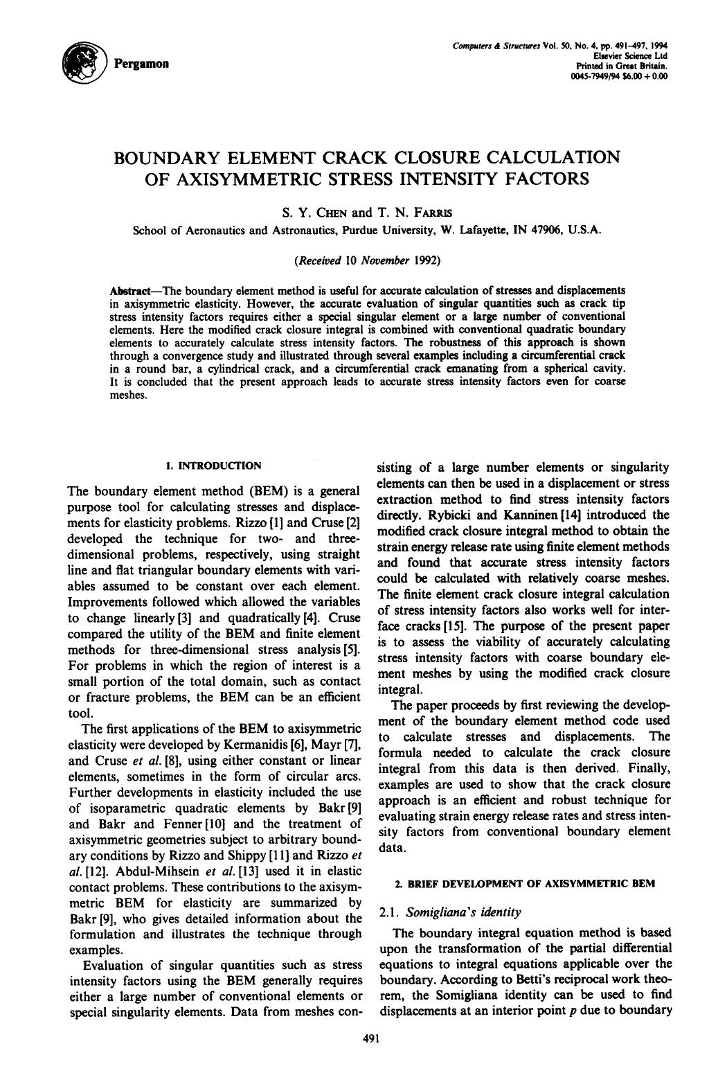 Book cover Boundary element crack closure calculation of axisymmetric stress intensity factors