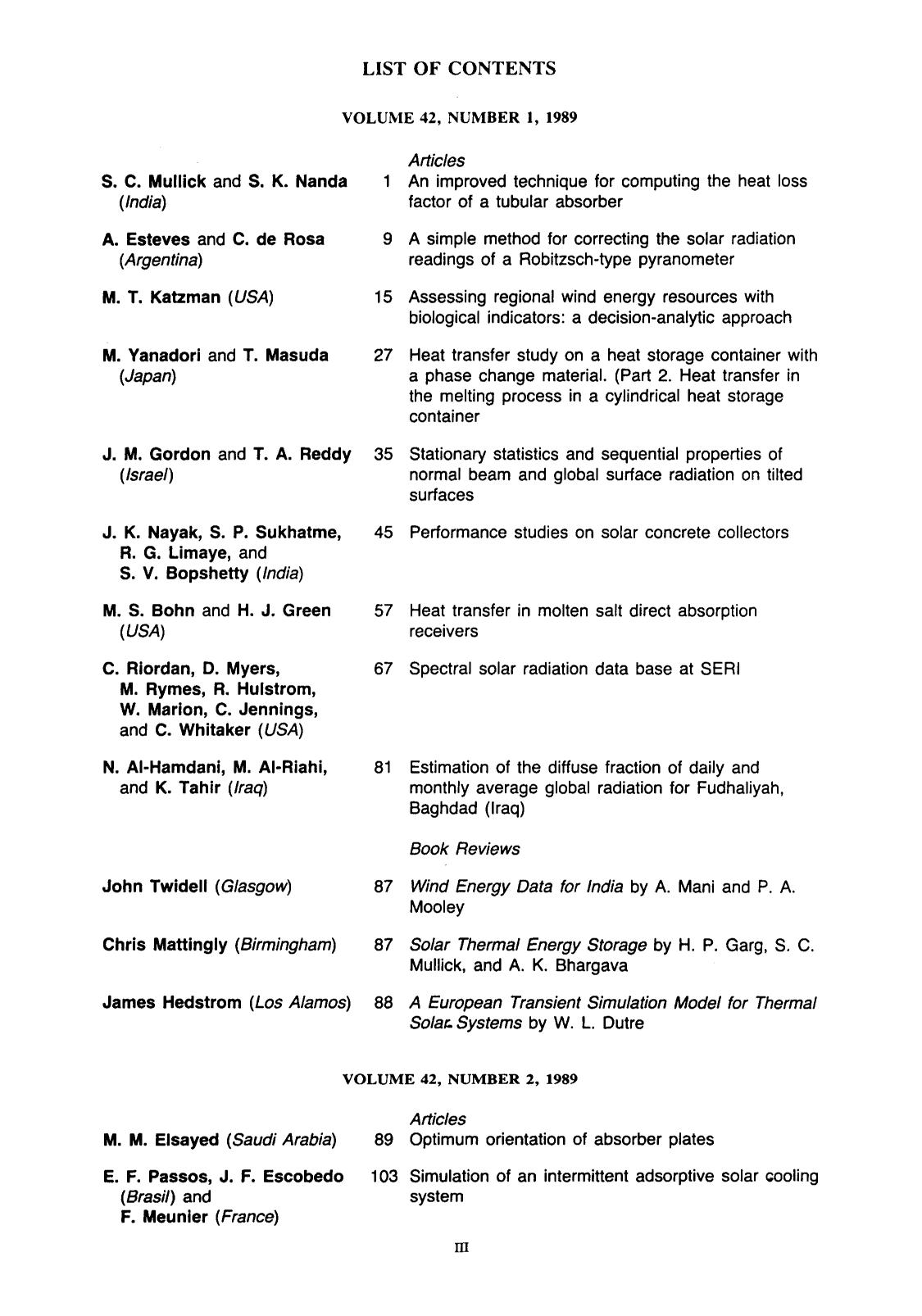Book cover List of contents and author index volume 42, 1989