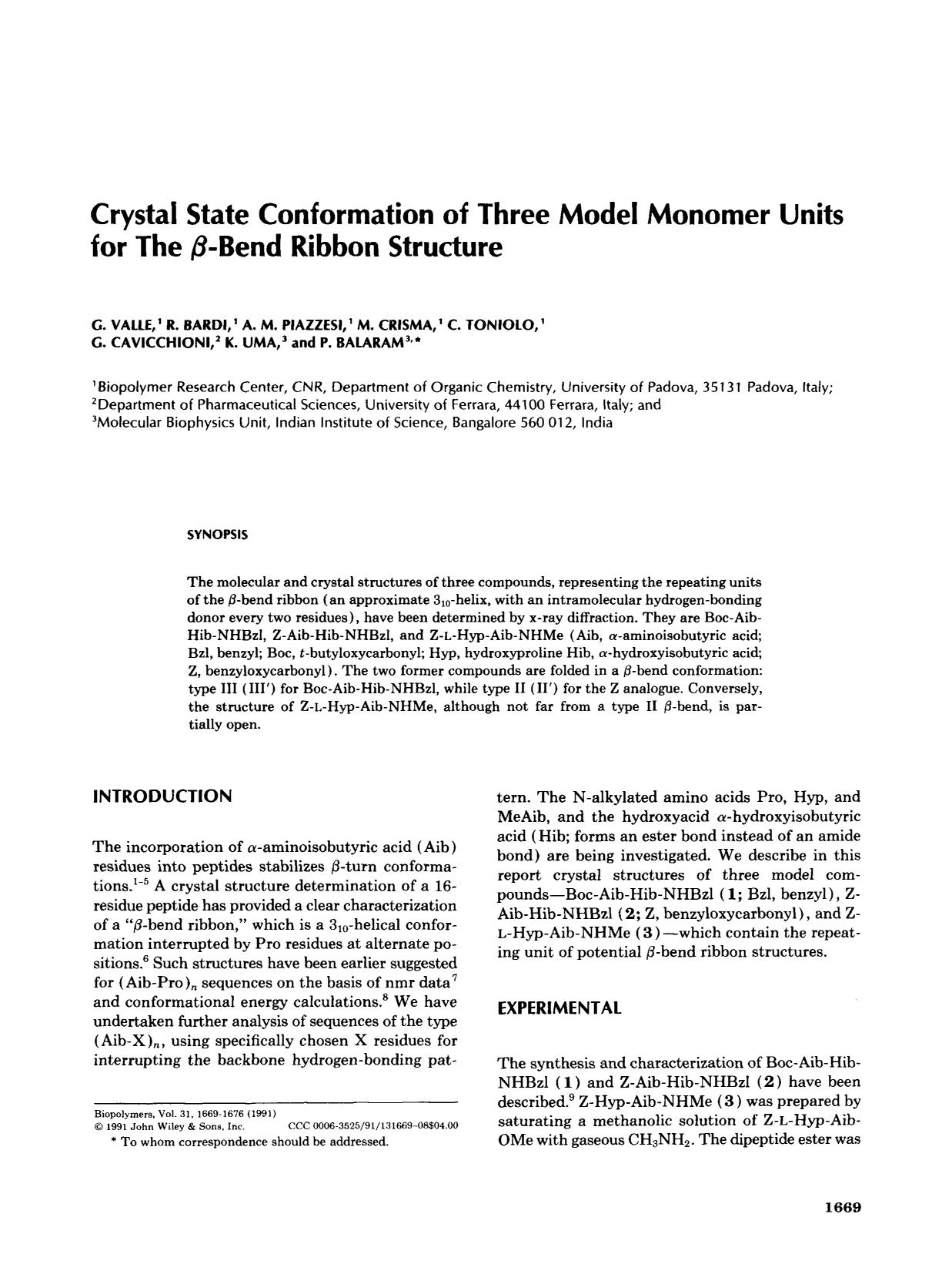 Book cover Crystal state conformation of three model monomer units for the β-bend ribbon structure